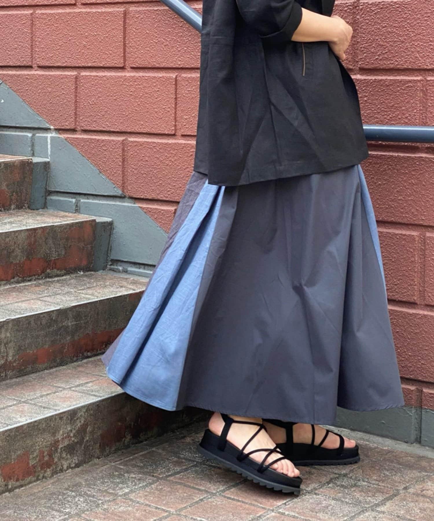 Pal collection(パルコレクション) 《全方位可愛い》麻混パッチワーク切替スカート