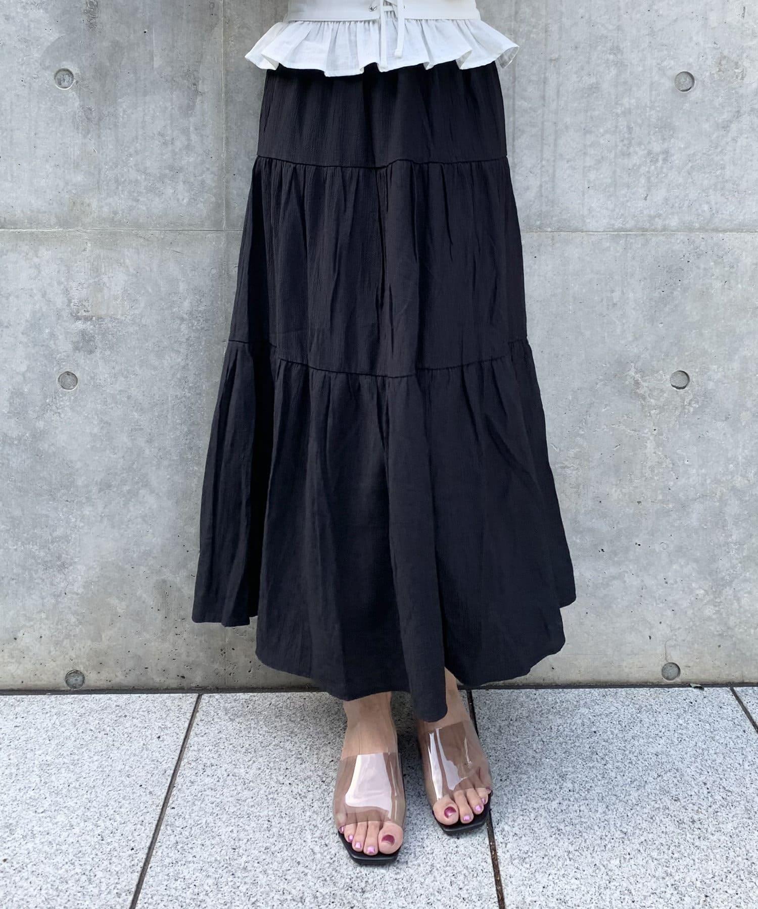 RASVOA(ラスボア) 楊柳ティアードロングスカート