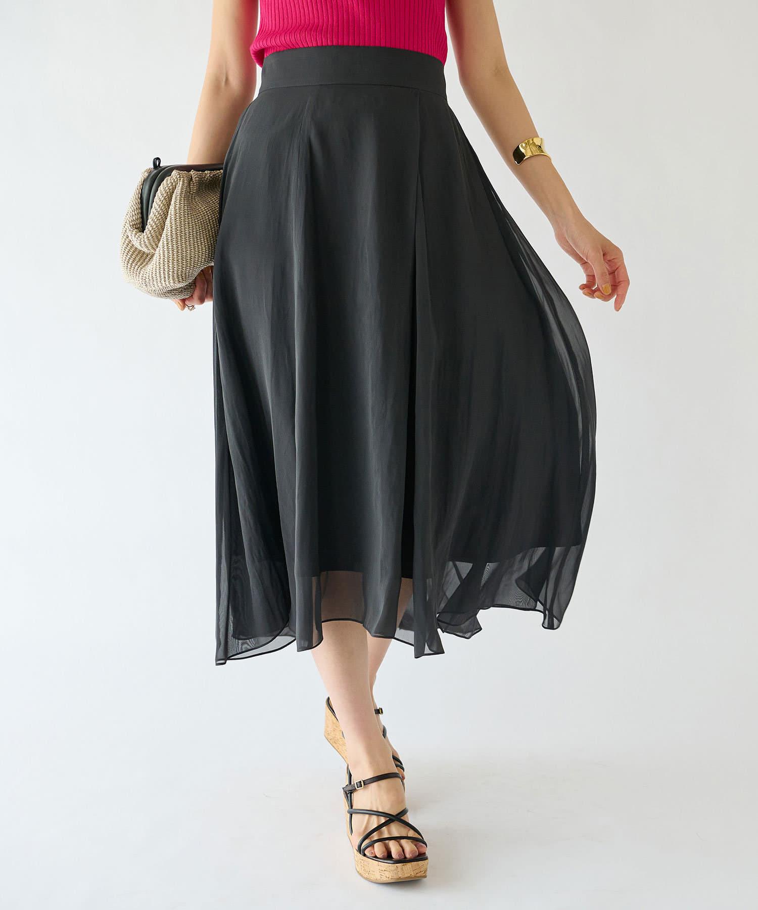La boutique BonBon(ラブティックボンボン) 【洗える】割繊シフォンラップ風フレアスカート
