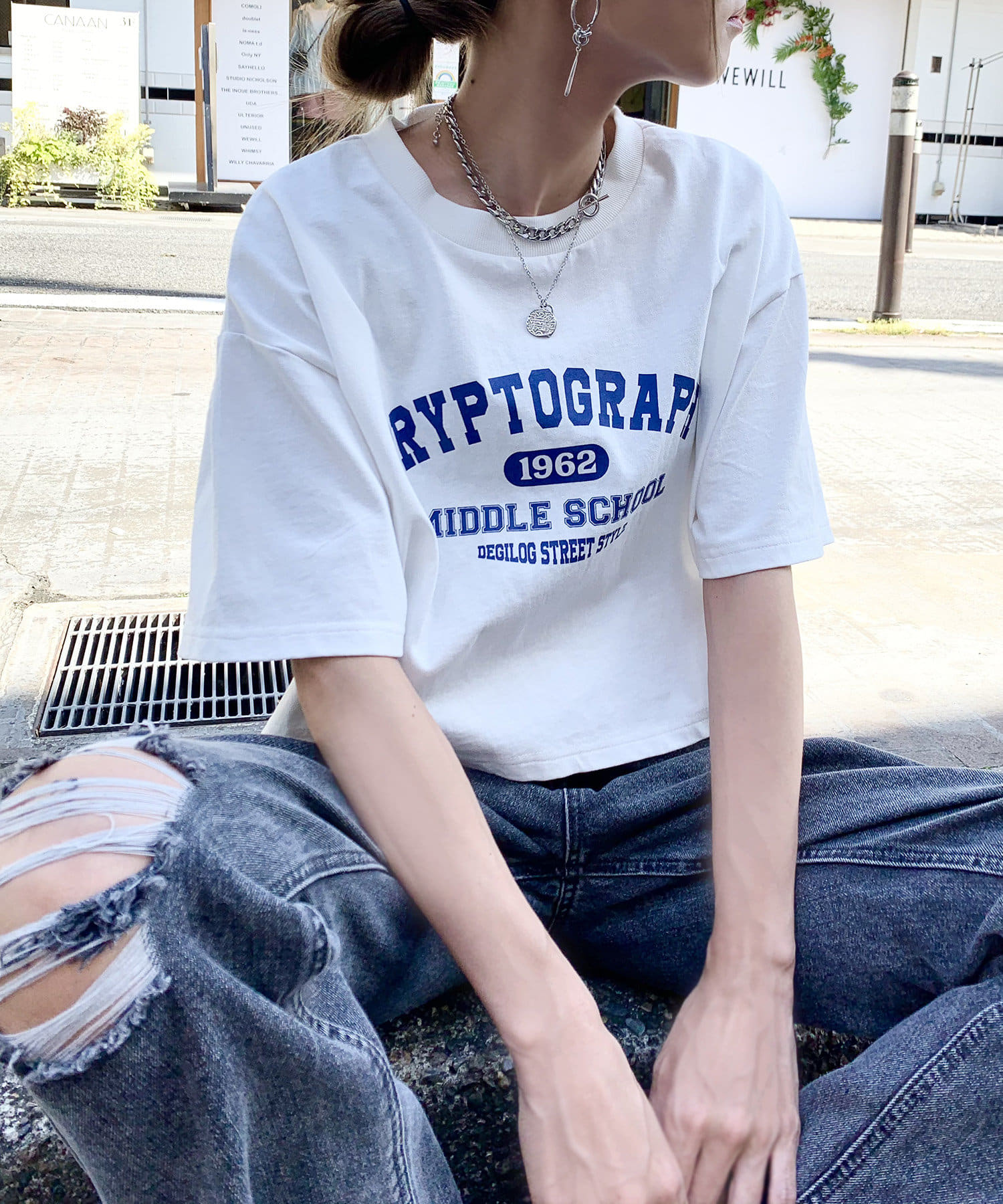 RASVOA(ラスボア) カレッジロゴクロップドTシャツ