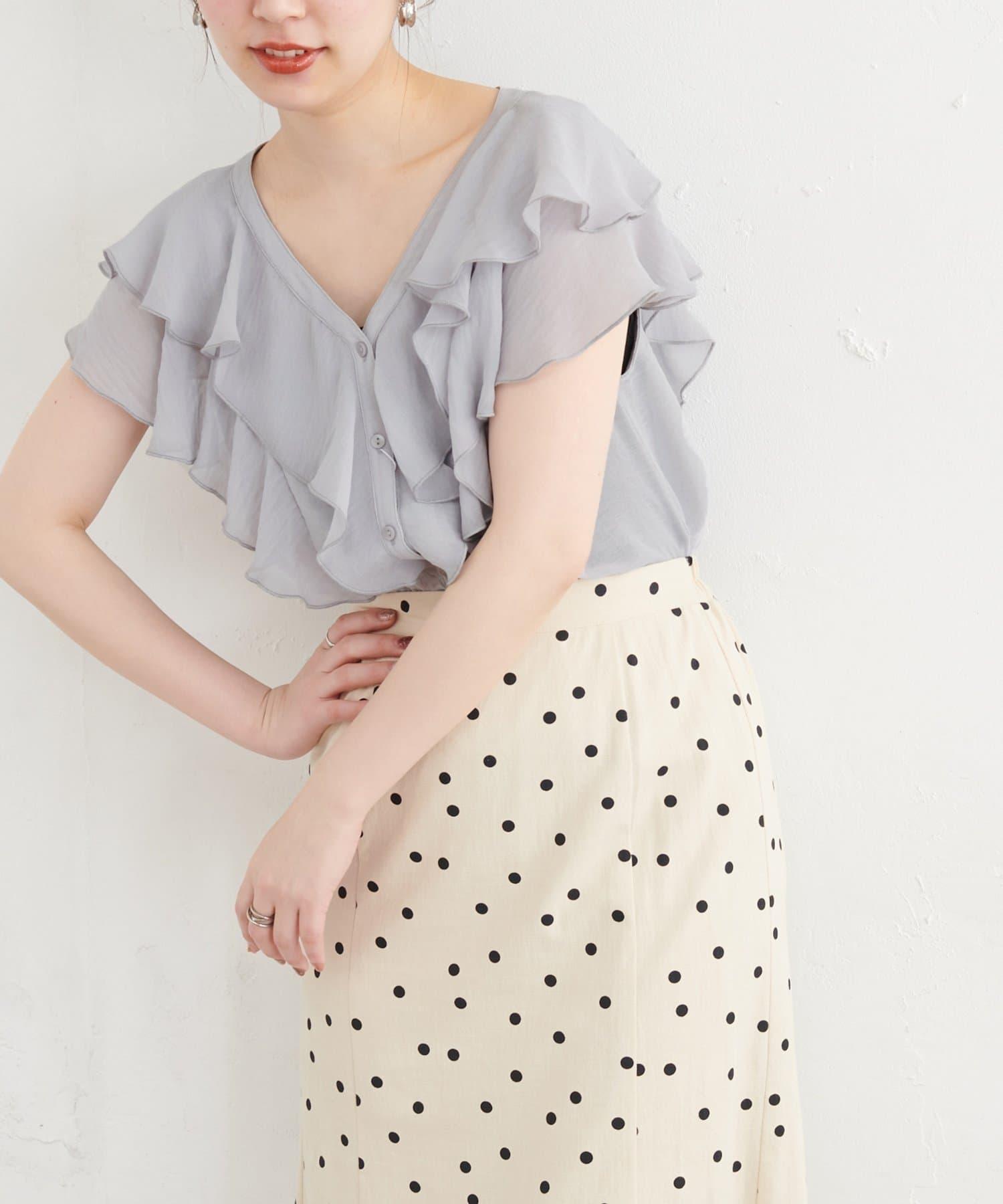 natural couture(ナチュラルクチュール) ふんわりラッフルデザインブラウス