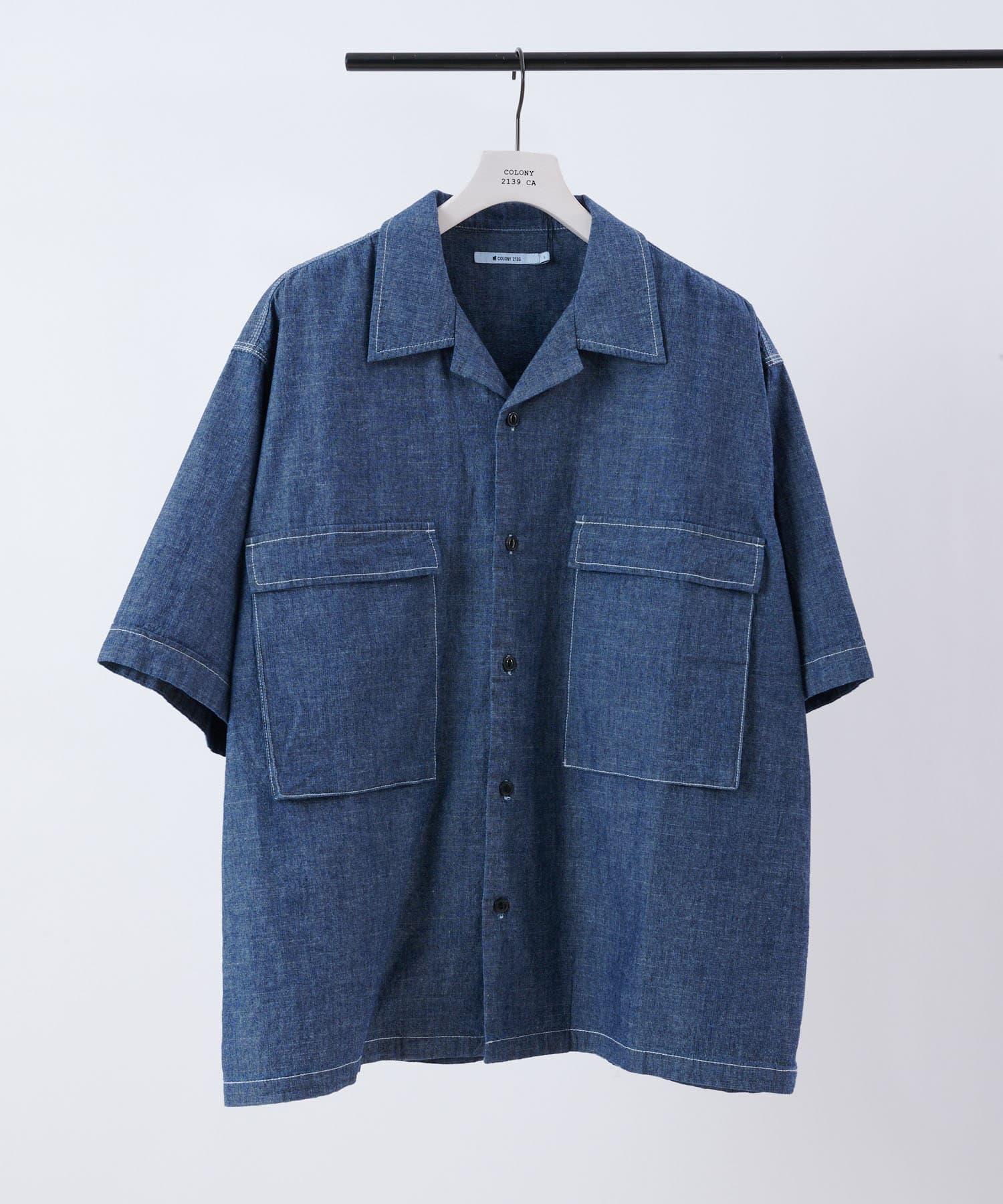 COLONY 2139(コロニー トゥーワンスリーナイン) シャンブレーBIGポケット半袖シャツ/オープンカラーシャツ/オーバーサイズ