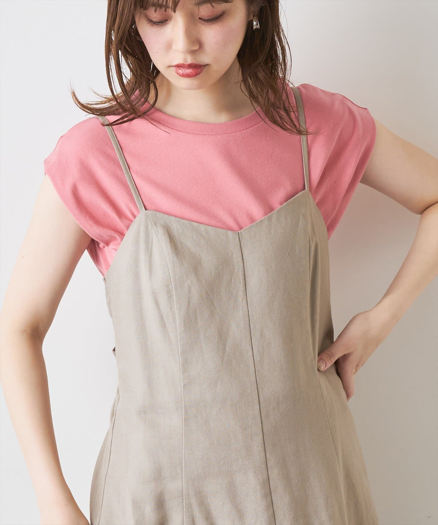 natural couture(ナチュラルクチュール) レディース 袖口タック厚手ノースリT ピンク