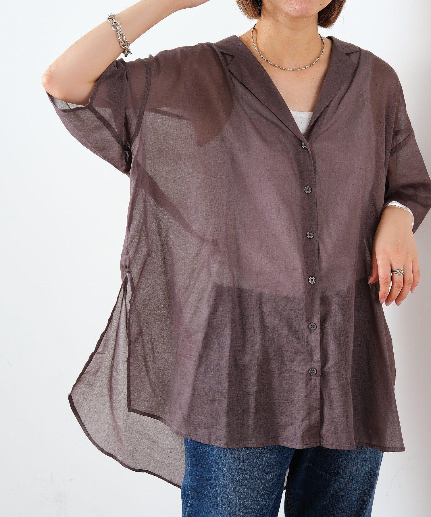 CIAOPANIC TYPY(チャオパニックティピー) 綿シアー開襟スリットカラーシャツ