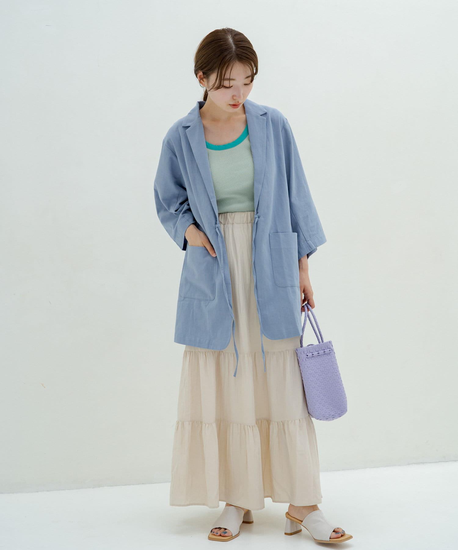 Kastane(カスタネ) 7分袖紐付きコットンジャケット