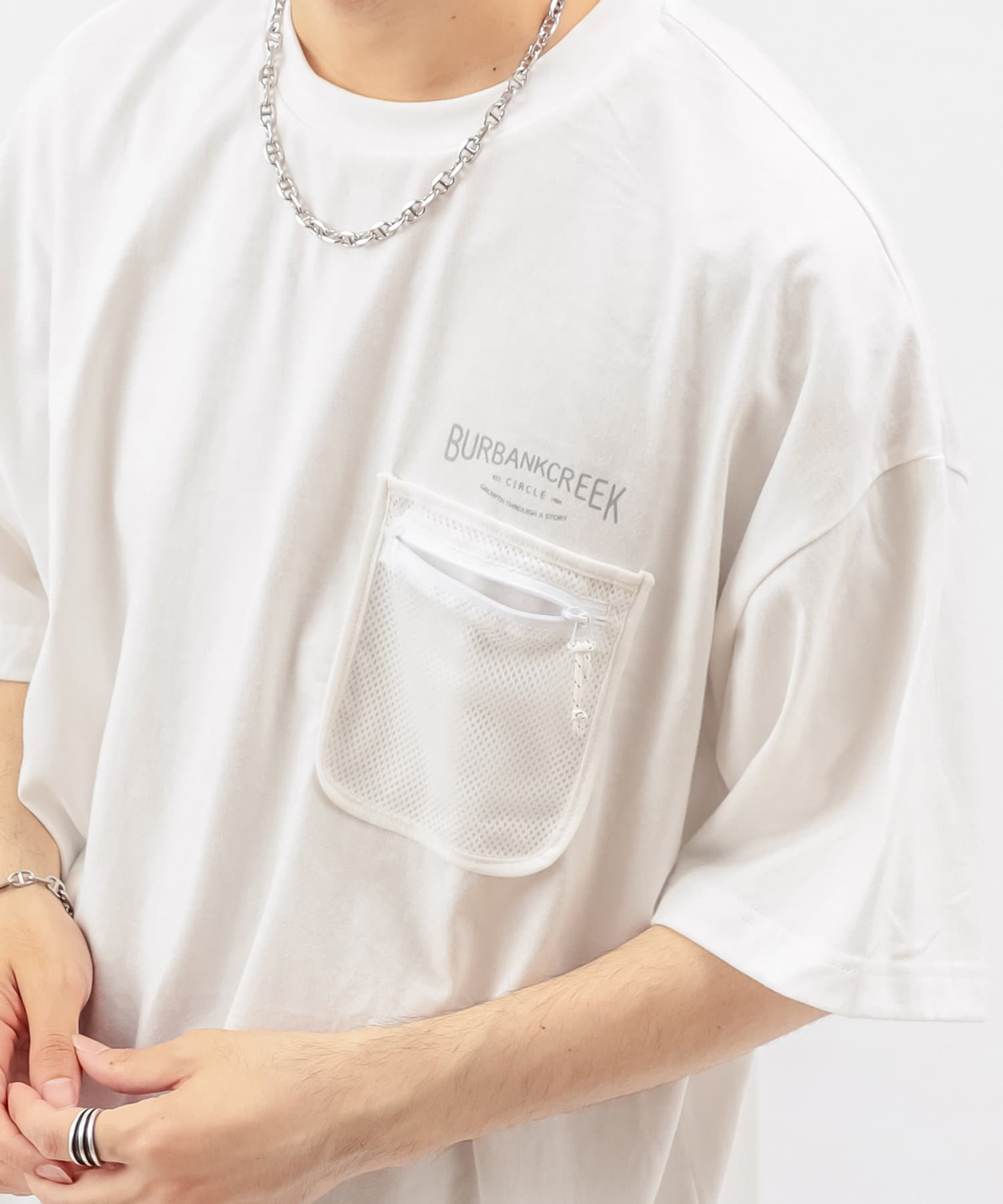 Discoat(ディスコート) メンズ 【BURBANKCREEK】ポケットメッシュTシャツ ホワイト
