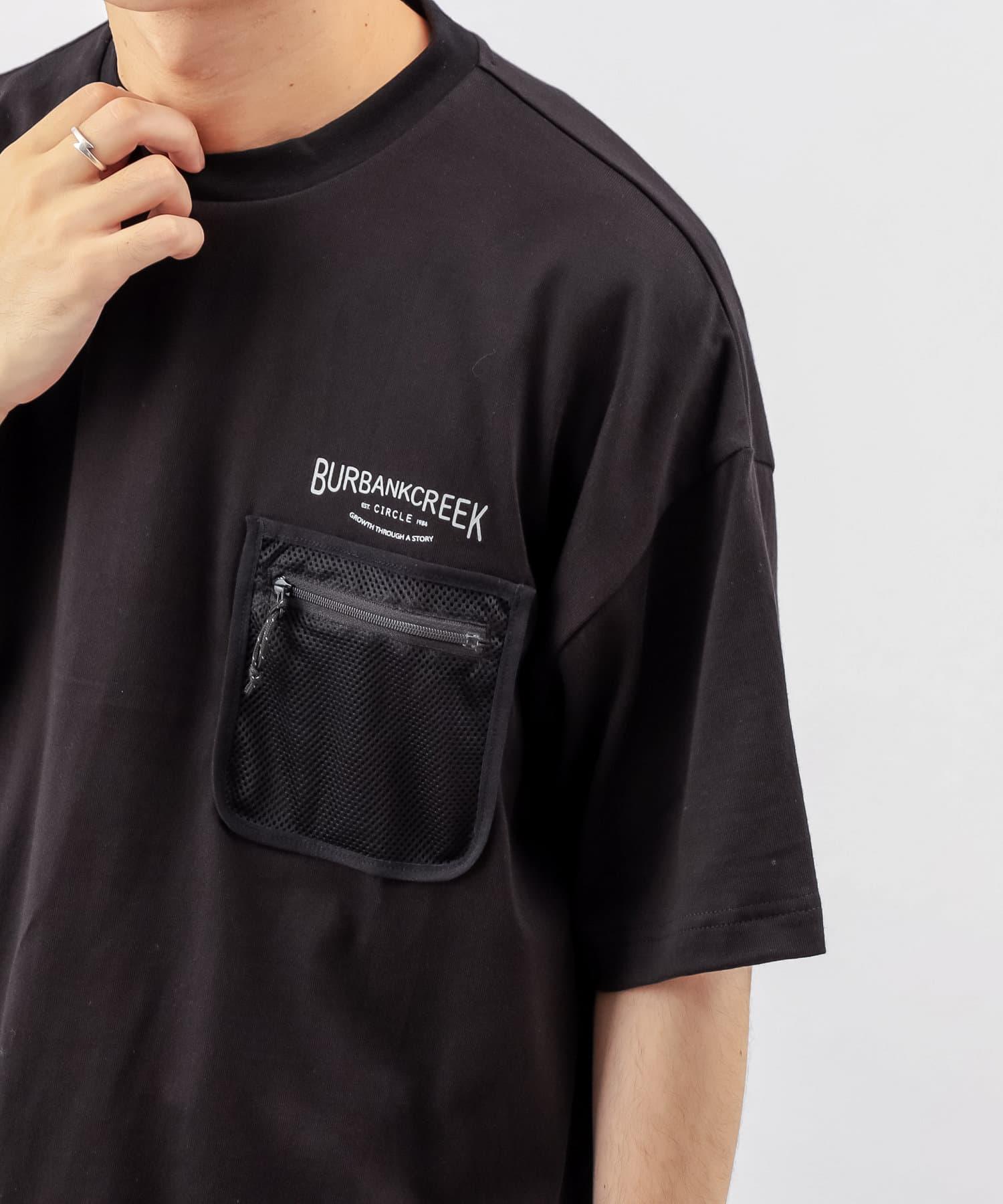 Discoat(ディスコート) メンズ 【BURBANKCREEK】ポケットメッシュTシャツ ブラック