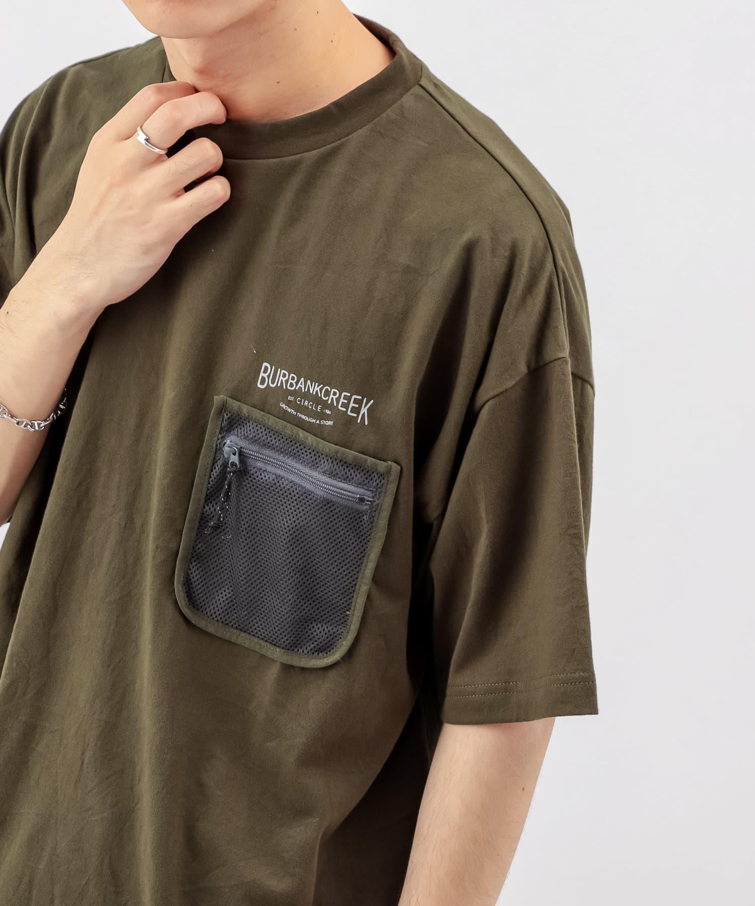 Discoat(ディスコート) メンズ 【BURBANKCREEK】ポケットメッシュTシャツ カーキ