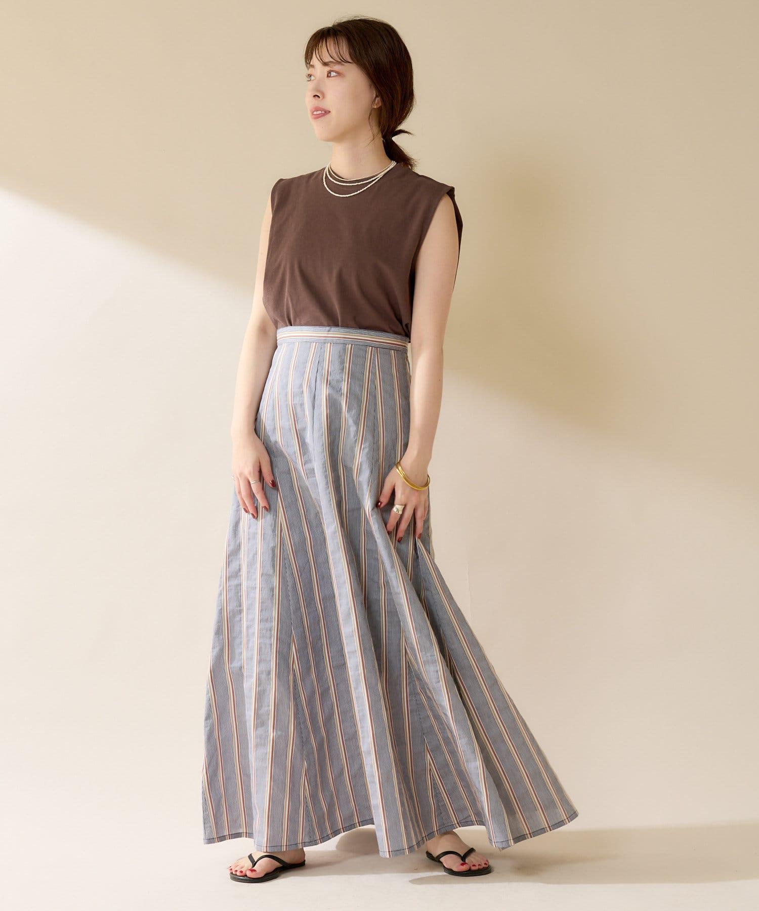 SHENERY(シーナリー) 【WEB限定カラー:ブラック】切替ストライプフレアマキシスカート