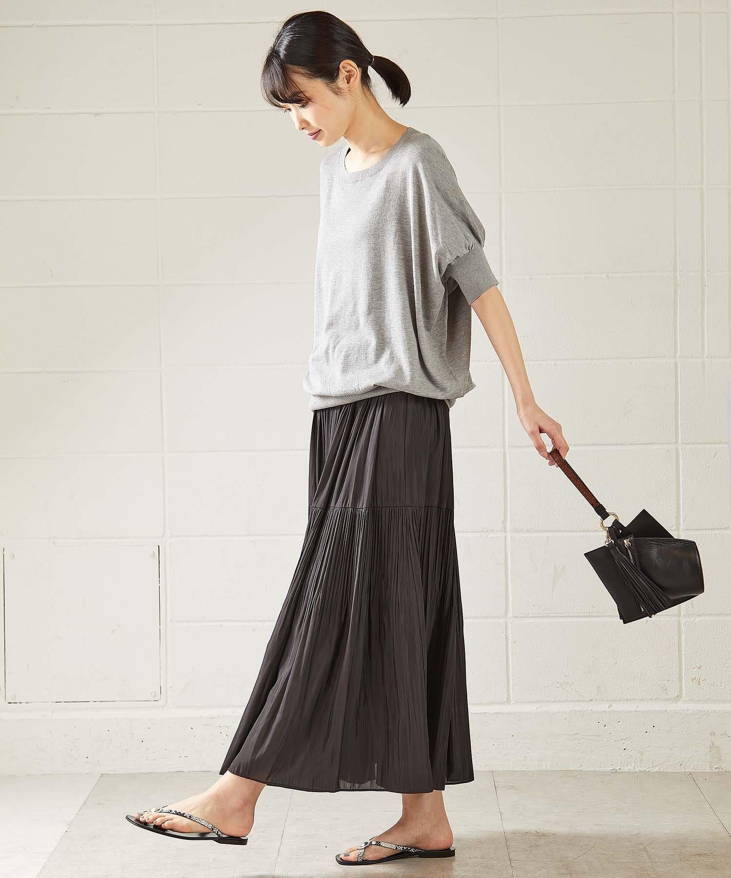 OUVRAGE CLASSE(ウヴラージュクラス) 2段プリーツギャザースカート【オンラインストア限定販売】