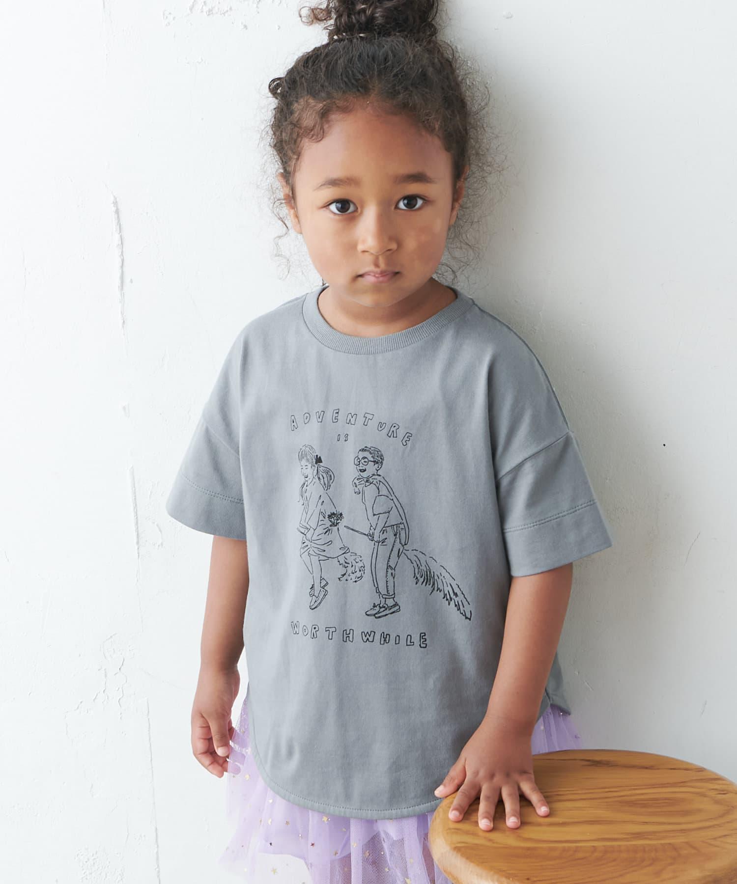 pual ce cin(ピュアルセシン) 【WEB限定】KIDSオーガニックコットンガス焼きプリントTシャツ