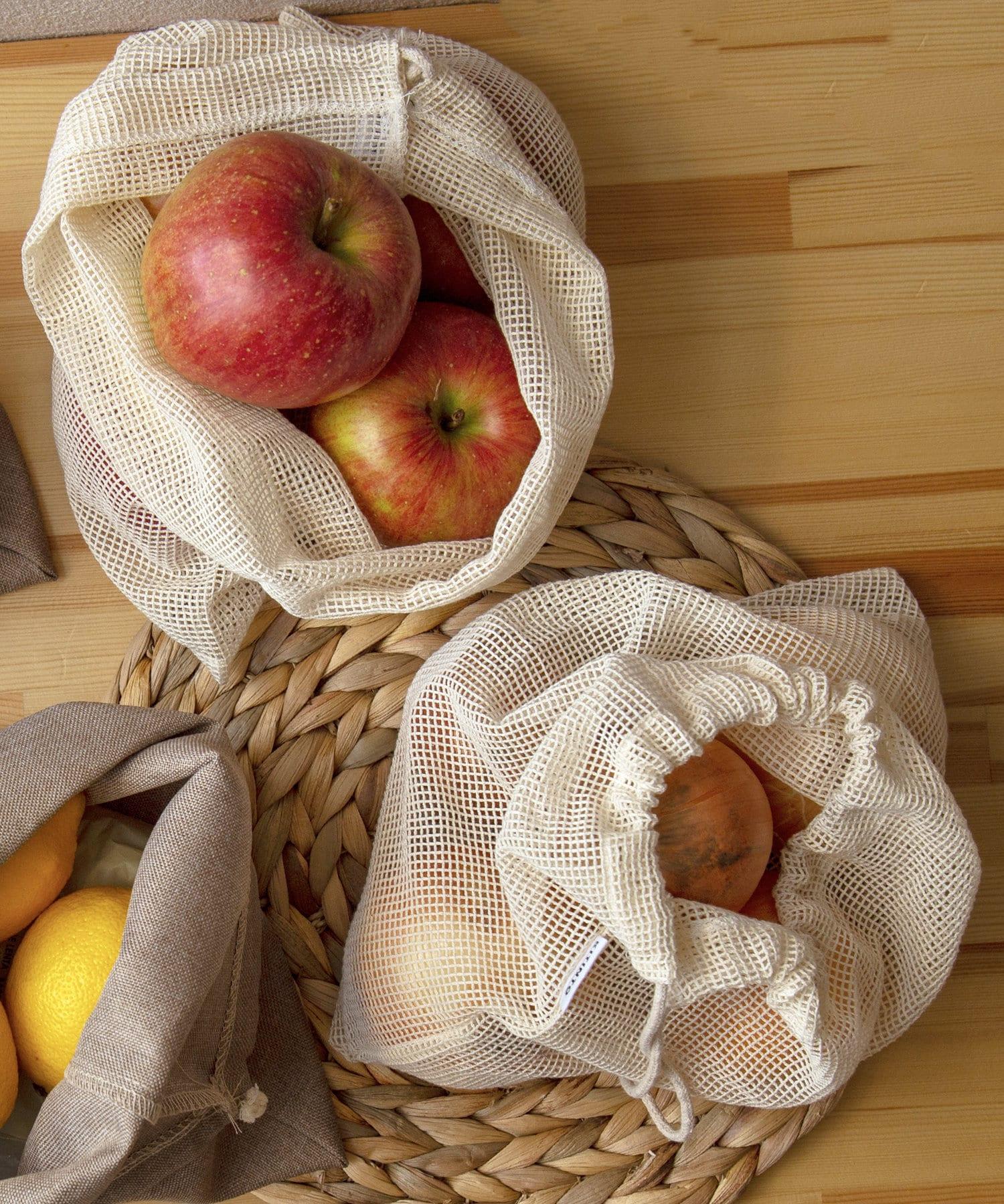 3COINS(スリーコインズ) ライフスタイル 【食材の保存や収納におすすめ】メッシュ巾着2枚セット ベージュ