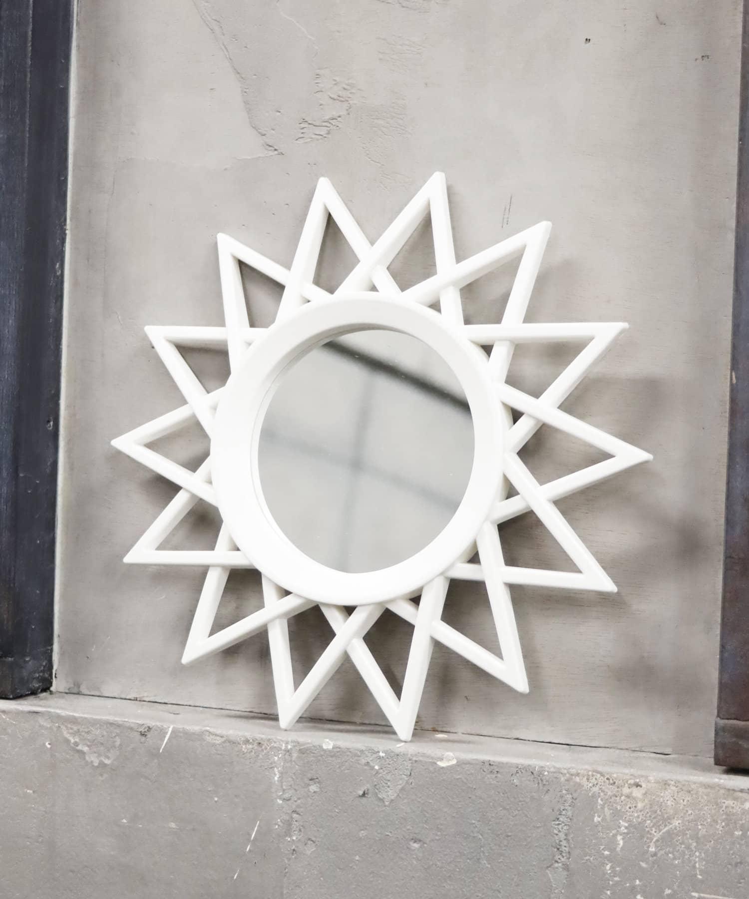 ASOKO(アソコ) ライフスタイル アンティーク壁掛けミラー(ギザギザ) ホワイト