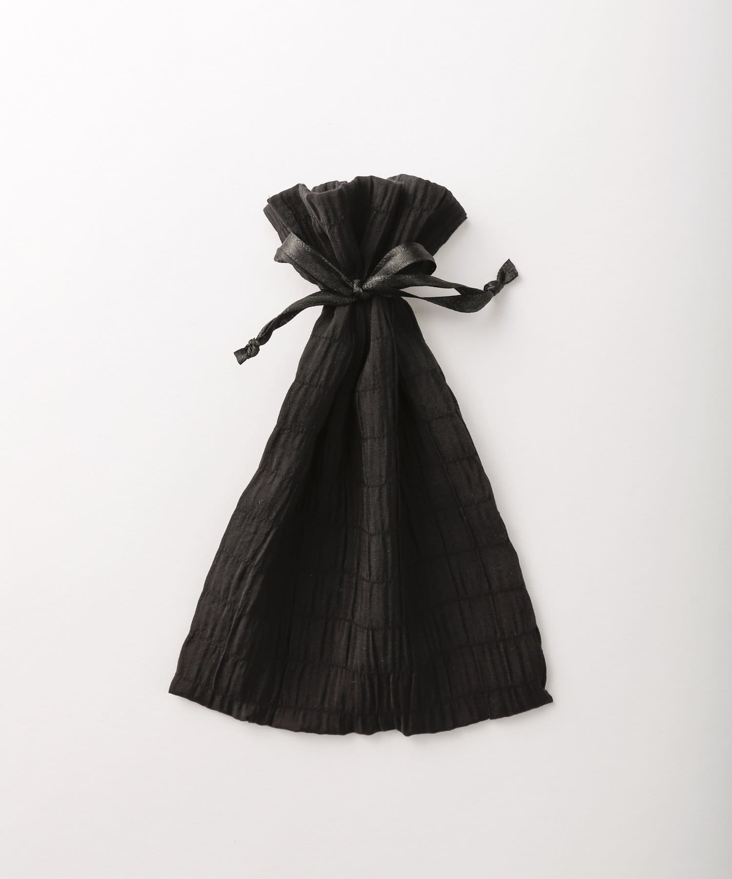 Lattice(ラティス) レディース シャーリング巾着ポーチM ブラック