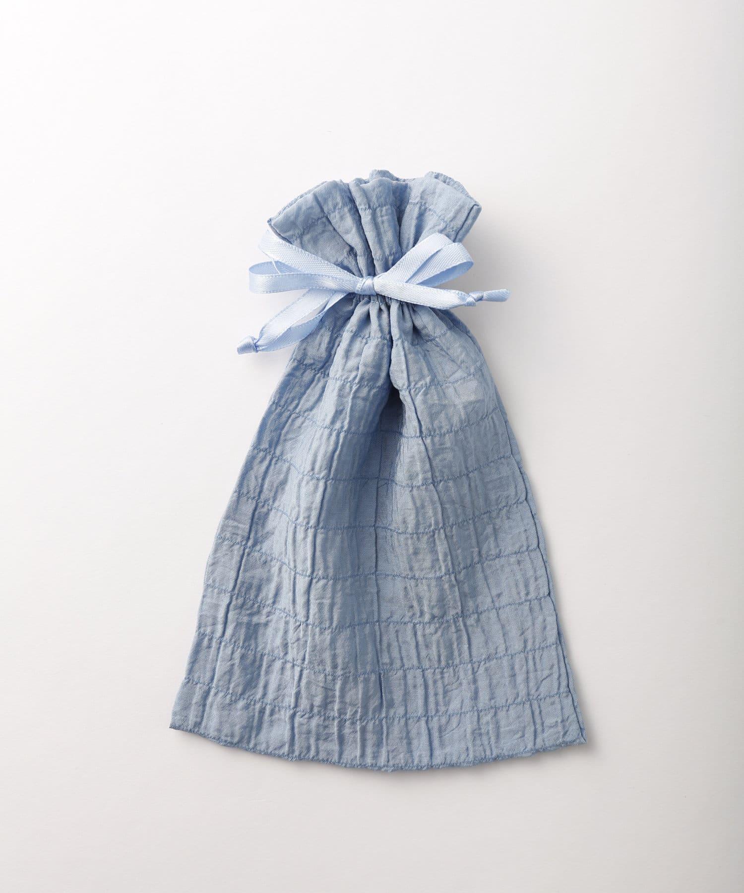 Lattice(ラティス) レディース シャーリング巾着ポーチM ブルー