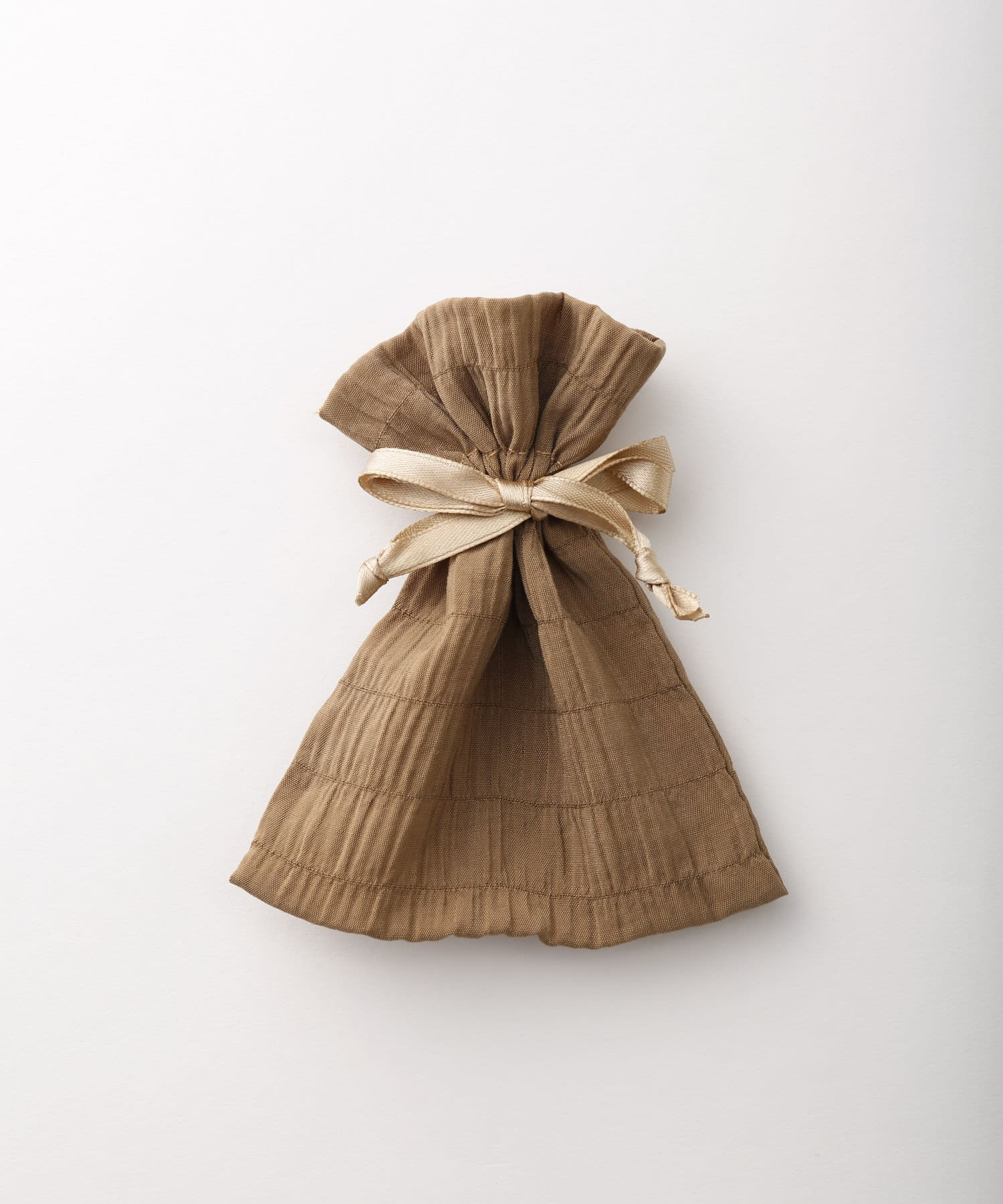 Lattice(ラティス) レディース シャーリング巾着ポーチS ブラウン