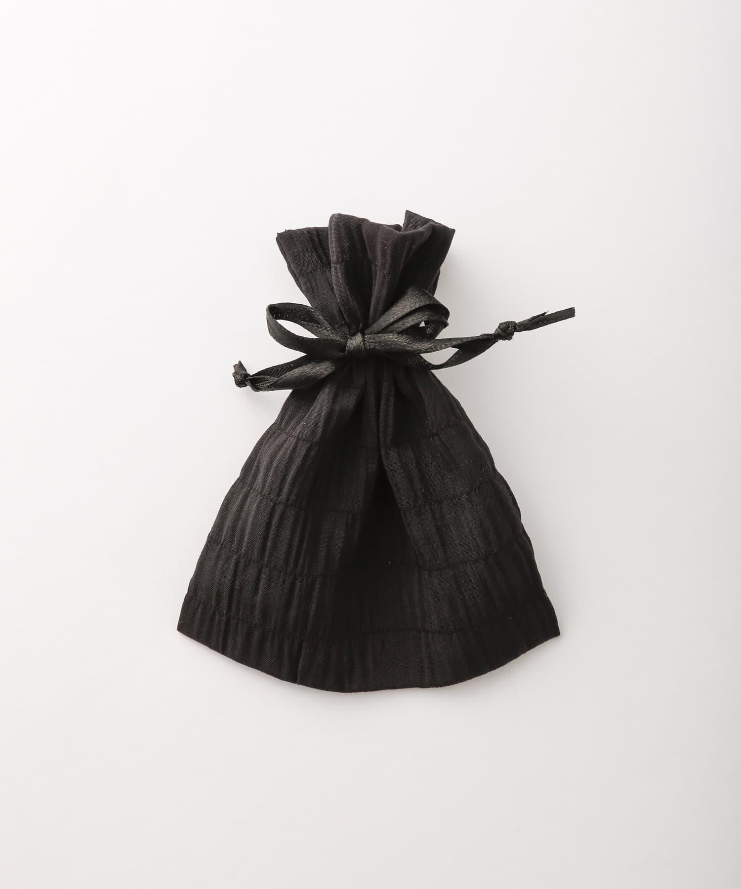 Lattice(ラティス) レディース シャーリング巾着ポーチS ブラック