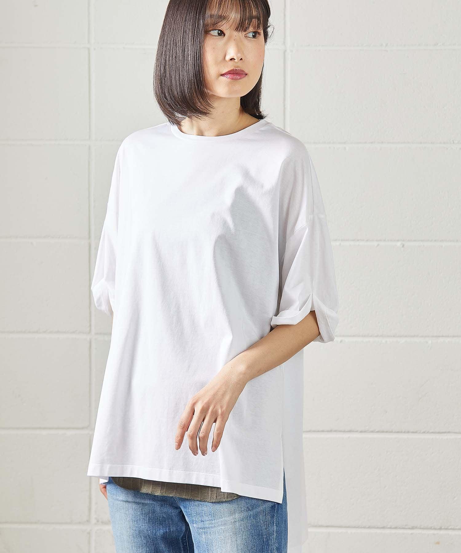 OUVRAGE CLASSE(ウヴラージュクラス) レディース 袖ロールアップTシャツ ホワイト