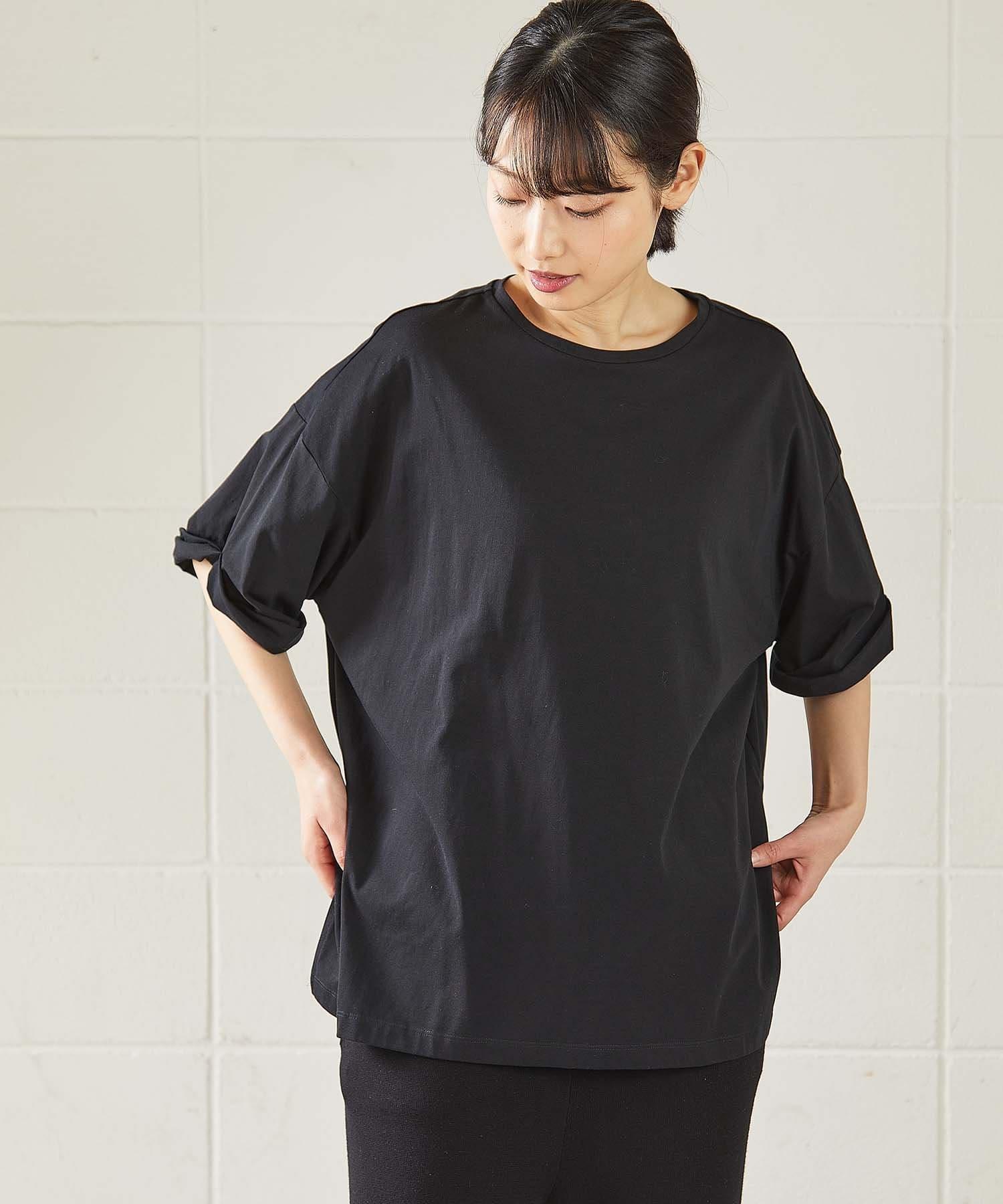 OUVRAGE CLASSE(ウヴラージュクラス) レディース 袖ロールアップTシャツ ブラック