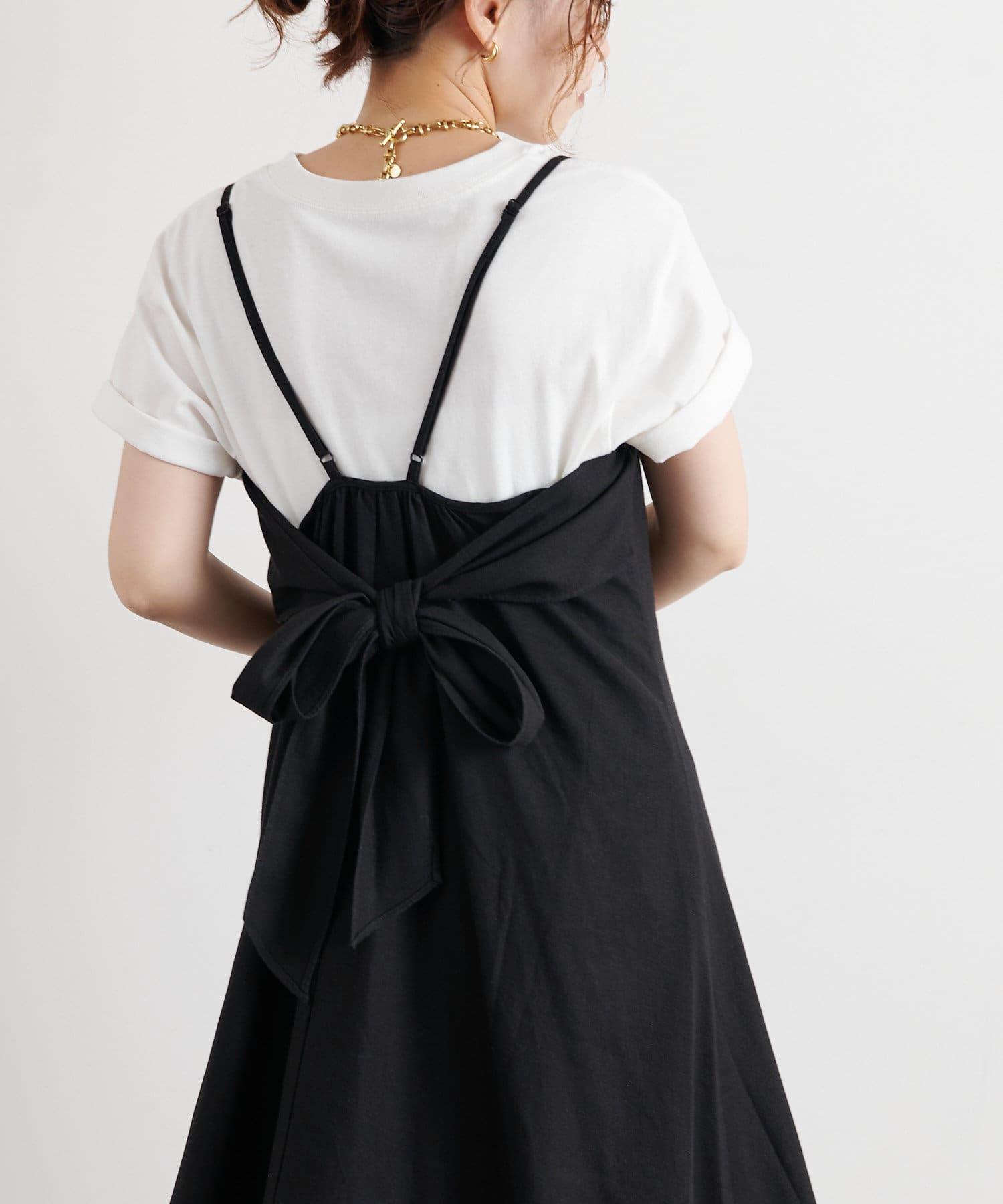 natural couture(ナチュラルクチュール) 【WEB限定】リネン混バックリボン大人ワンピース