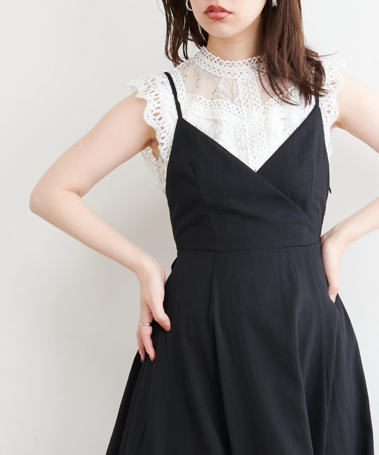 natural couture(ナチュラルクチュール) 【WEB限定】ノースリチュールレース切替ブラウス