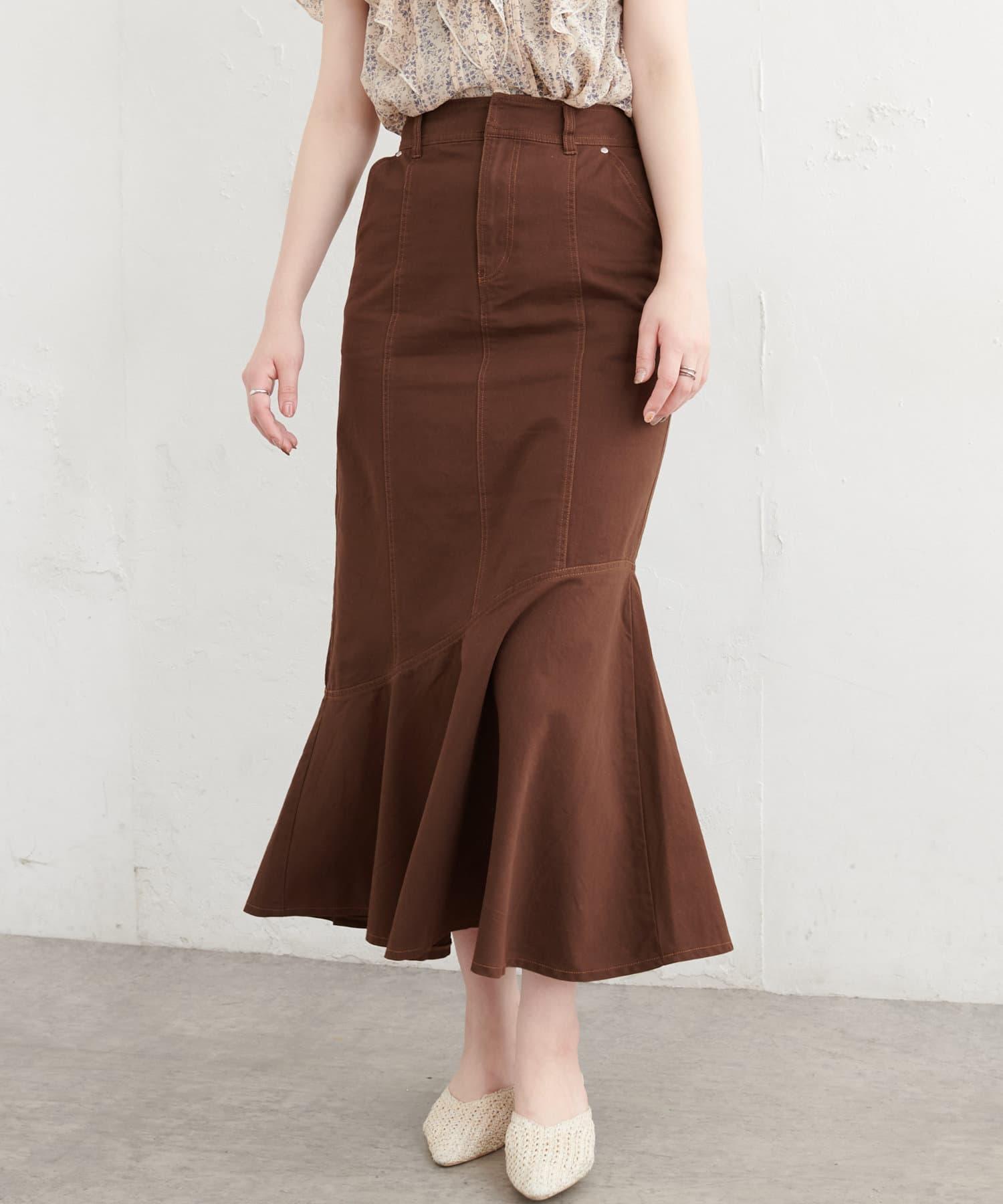 natural couture(ナチュラルクチュール) 【WEB限定】アシメフレアデニムスカート