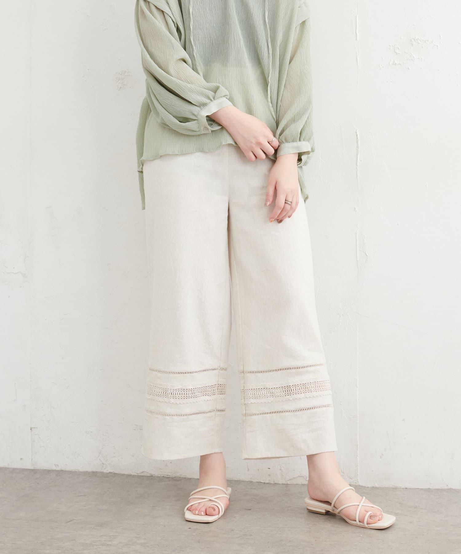 natural couture(ナチュラルクチュール) レース切替え綿麻ワイドパンツ