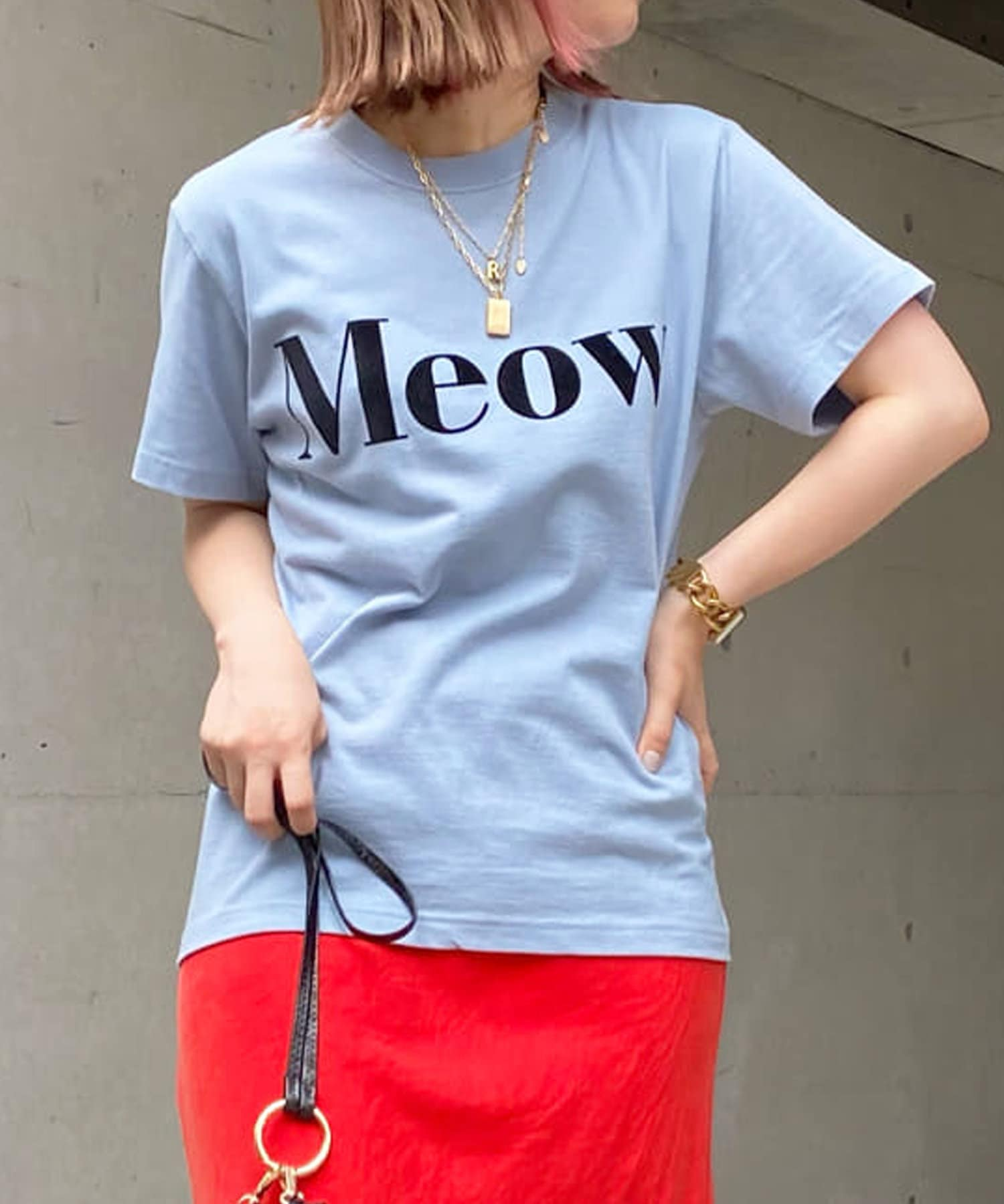 DOUDOU(ドゥドゥ) 【WEB限定】Meow フロッキープリントT