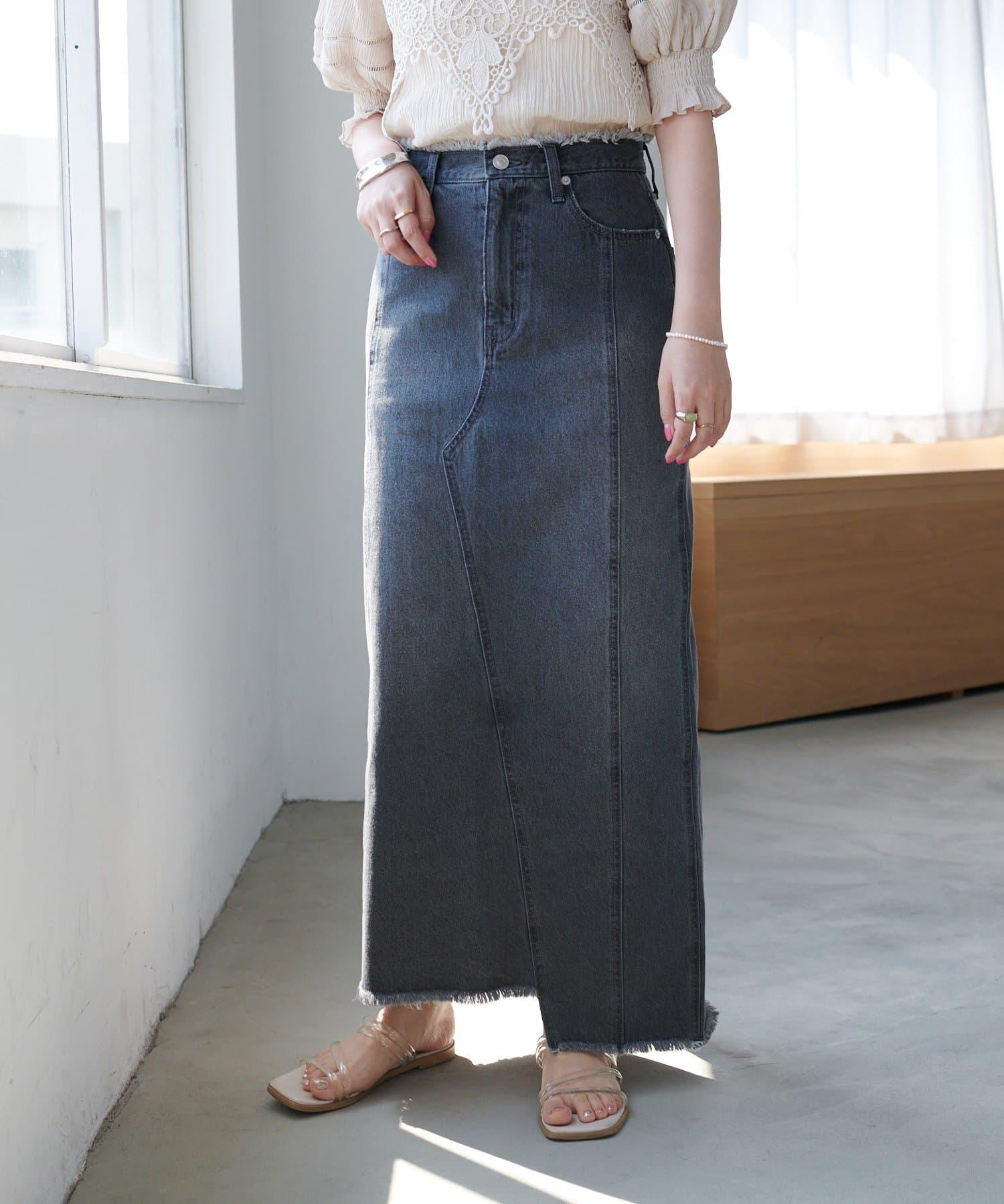 Discoat(ディスコート) リメイク風デニムナロースカート