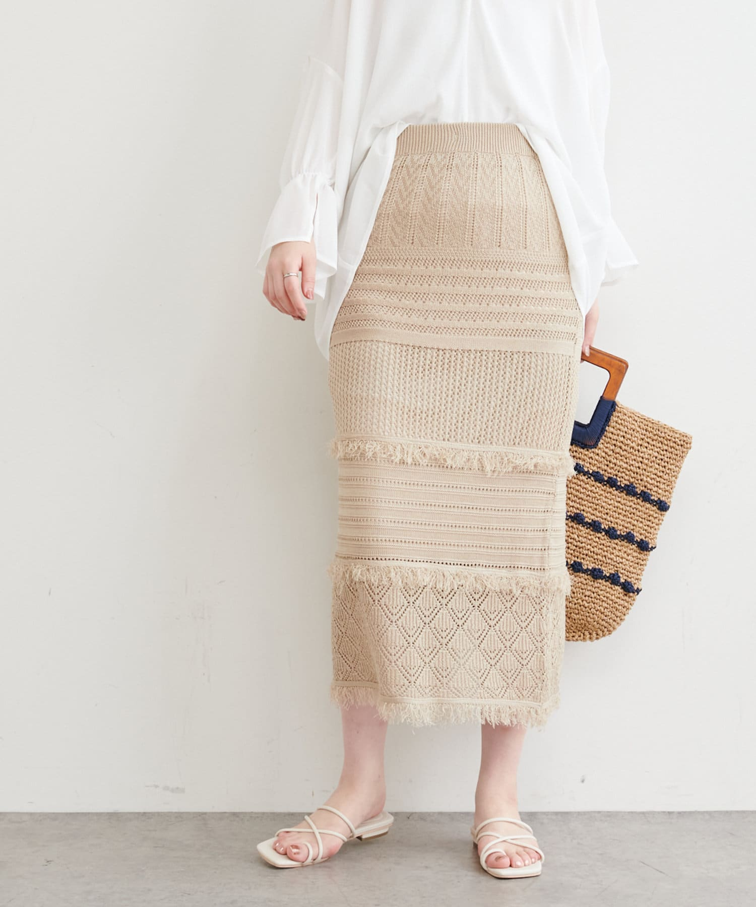 natural couture(ナチュラルクチュール) 透かし編みフリンジスカート