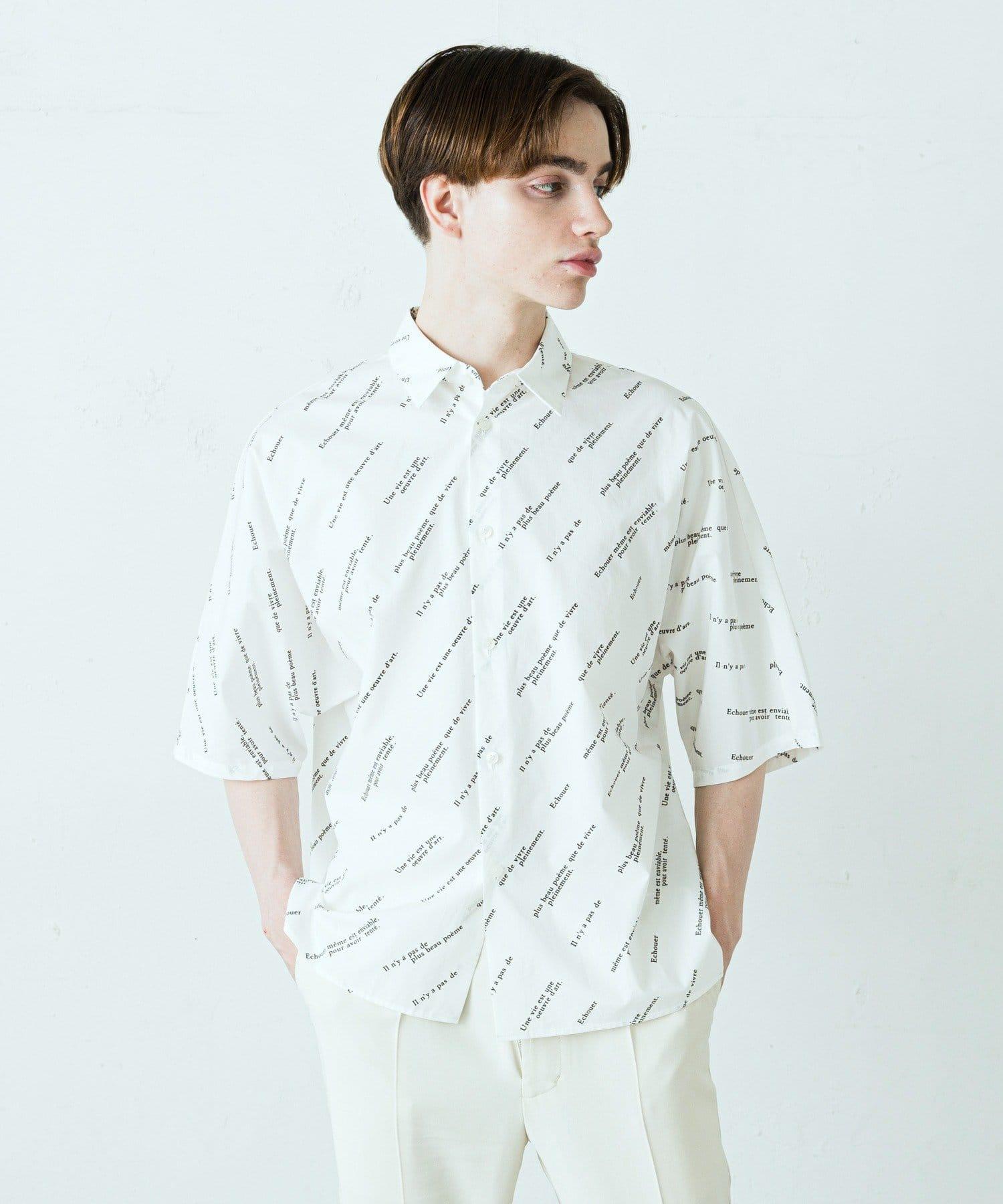 Lui's(ルイス) メンズ ジョルジュメッセージドルマンシャツ ホワイト