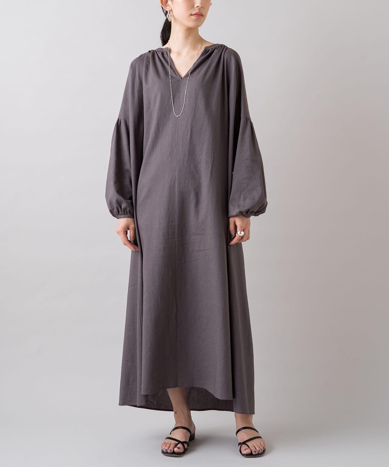 Loungedress(ラウンジドレス) 綿麻スキッパーワンピース