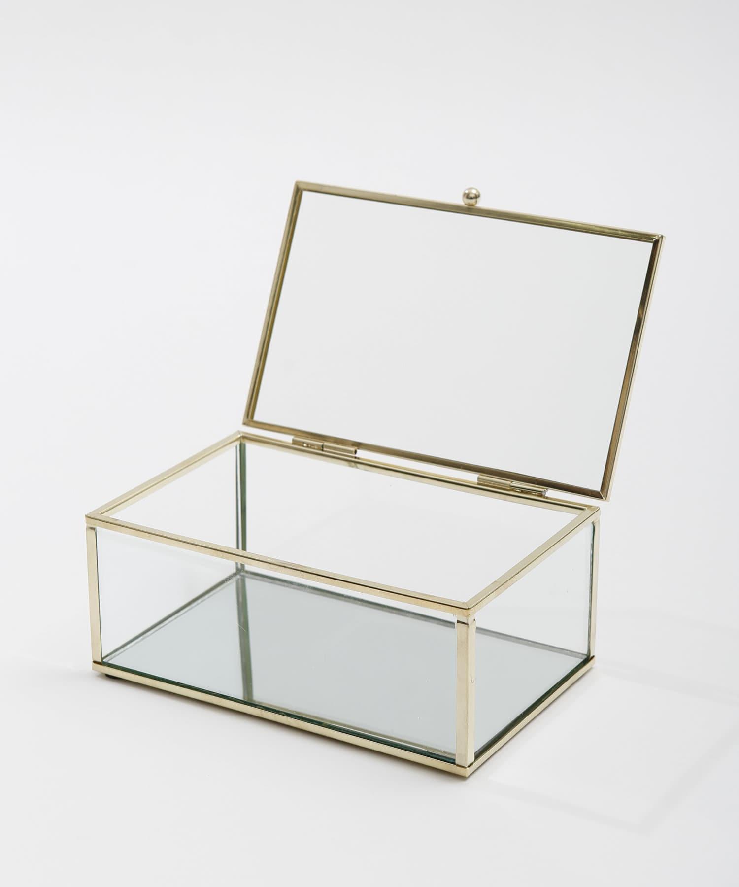 3COINS(スリーコインズ) ライフスタイル フタ付きガラスケース ゴールド