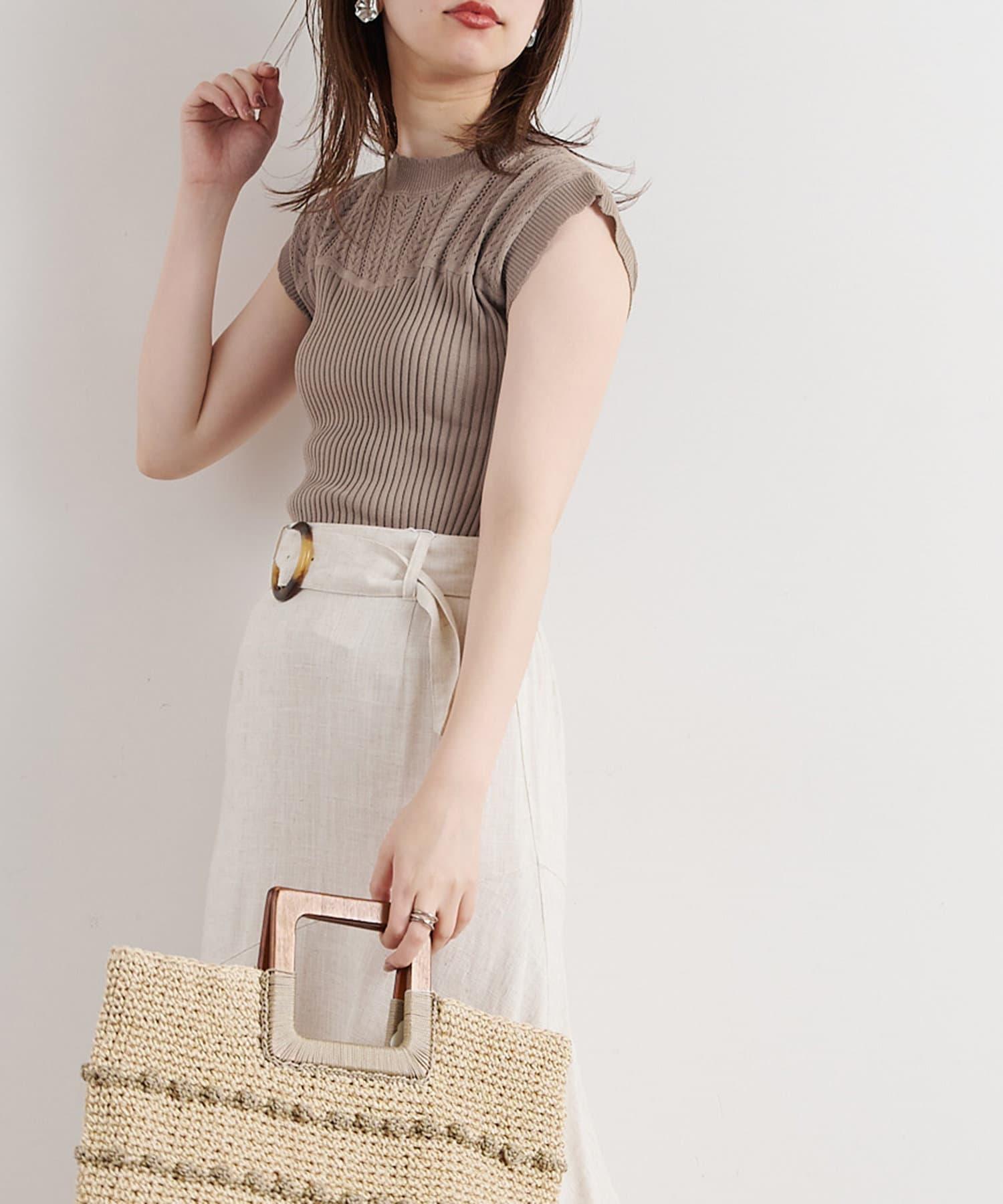 natural couture(ナチュラルクチュール) 【WEB限定】透かし×リブお上品スカラップニット