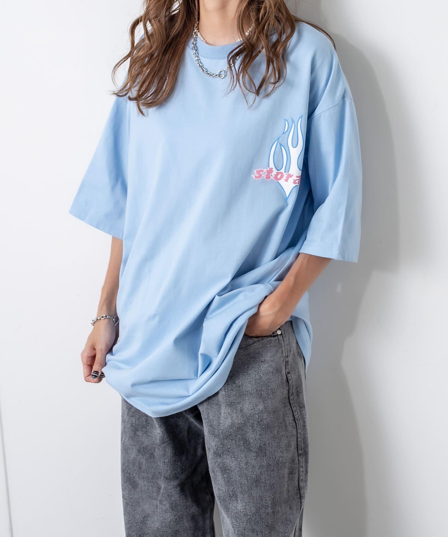 RASVOA(ラスボア) レディース ファイヤーストレージTシャツ サックスブルー