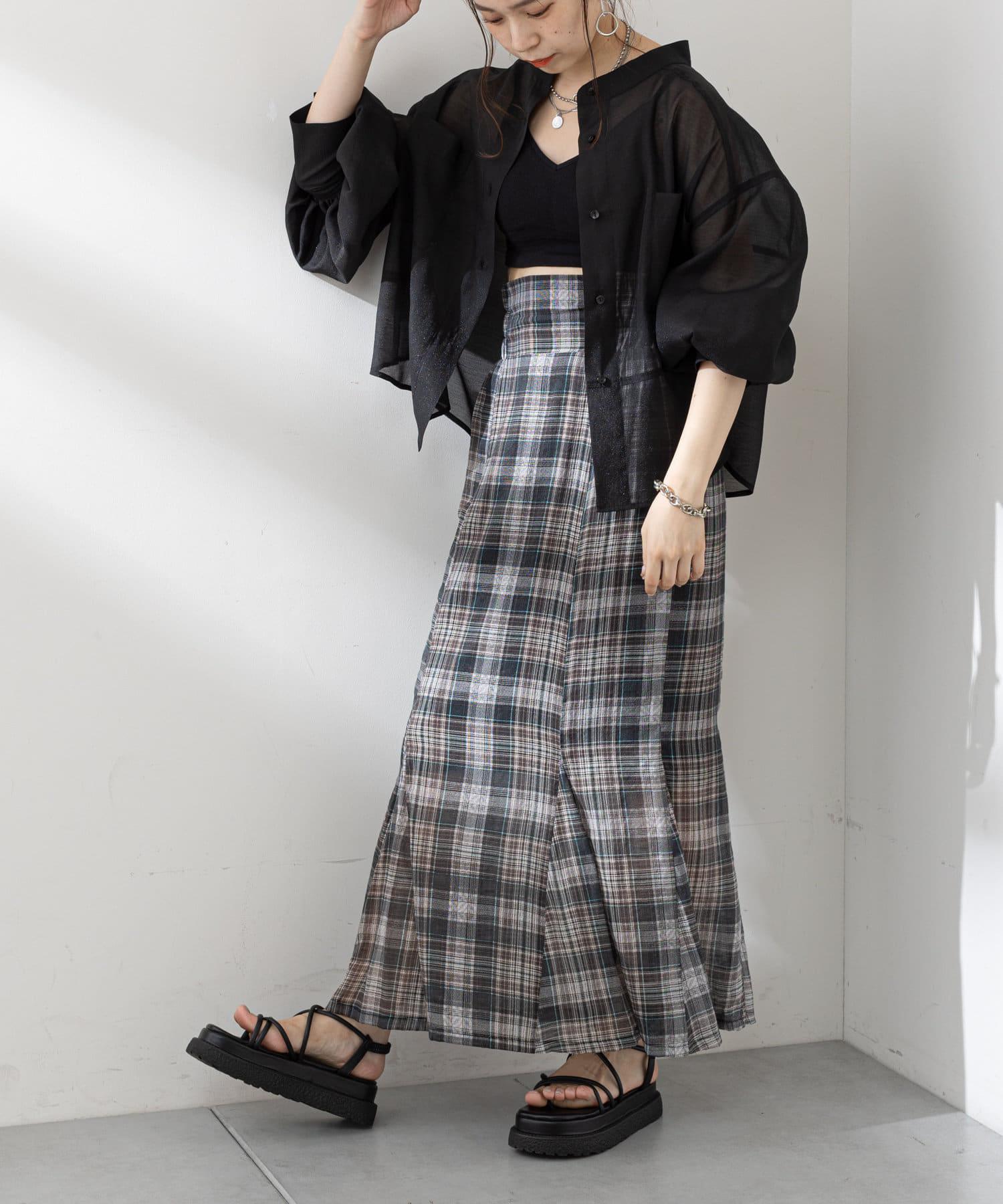 who's who Chico(フーズフーチコ) 5分袖シアーブロッキングシャツ
