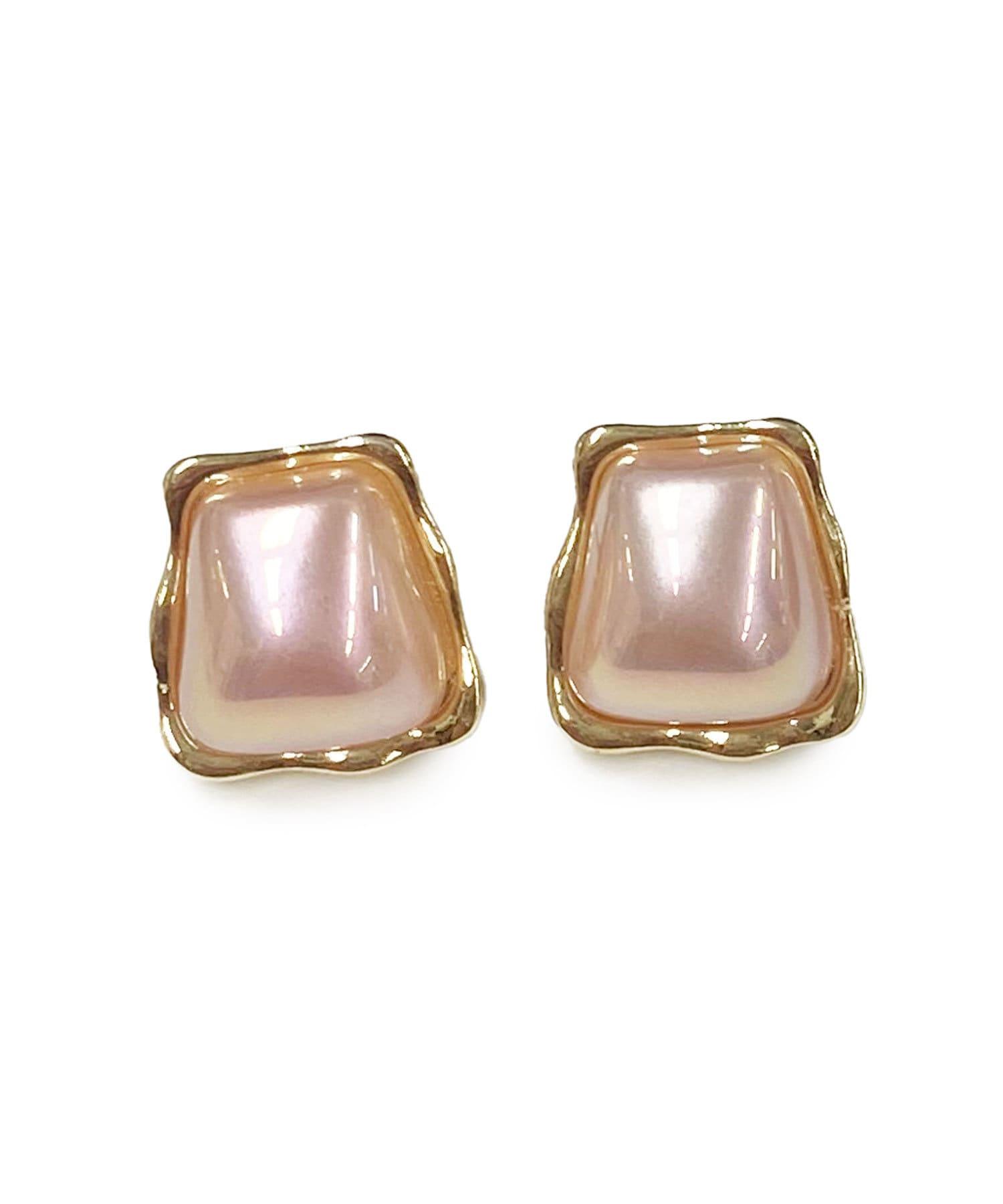 Lattice(ラティス) レディース スクエアパールピアス ピンク