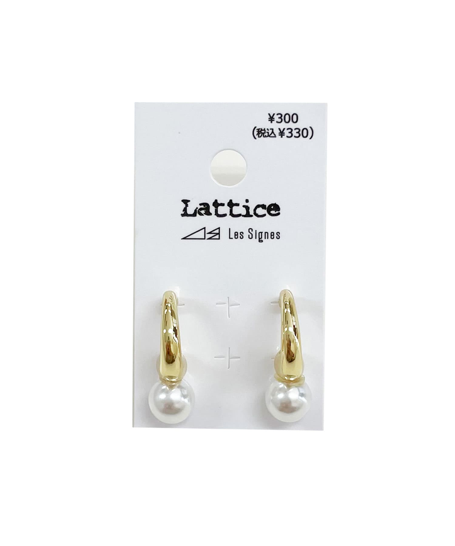 Lattice(ラティス) レディース メタルパールピアス ゴールド