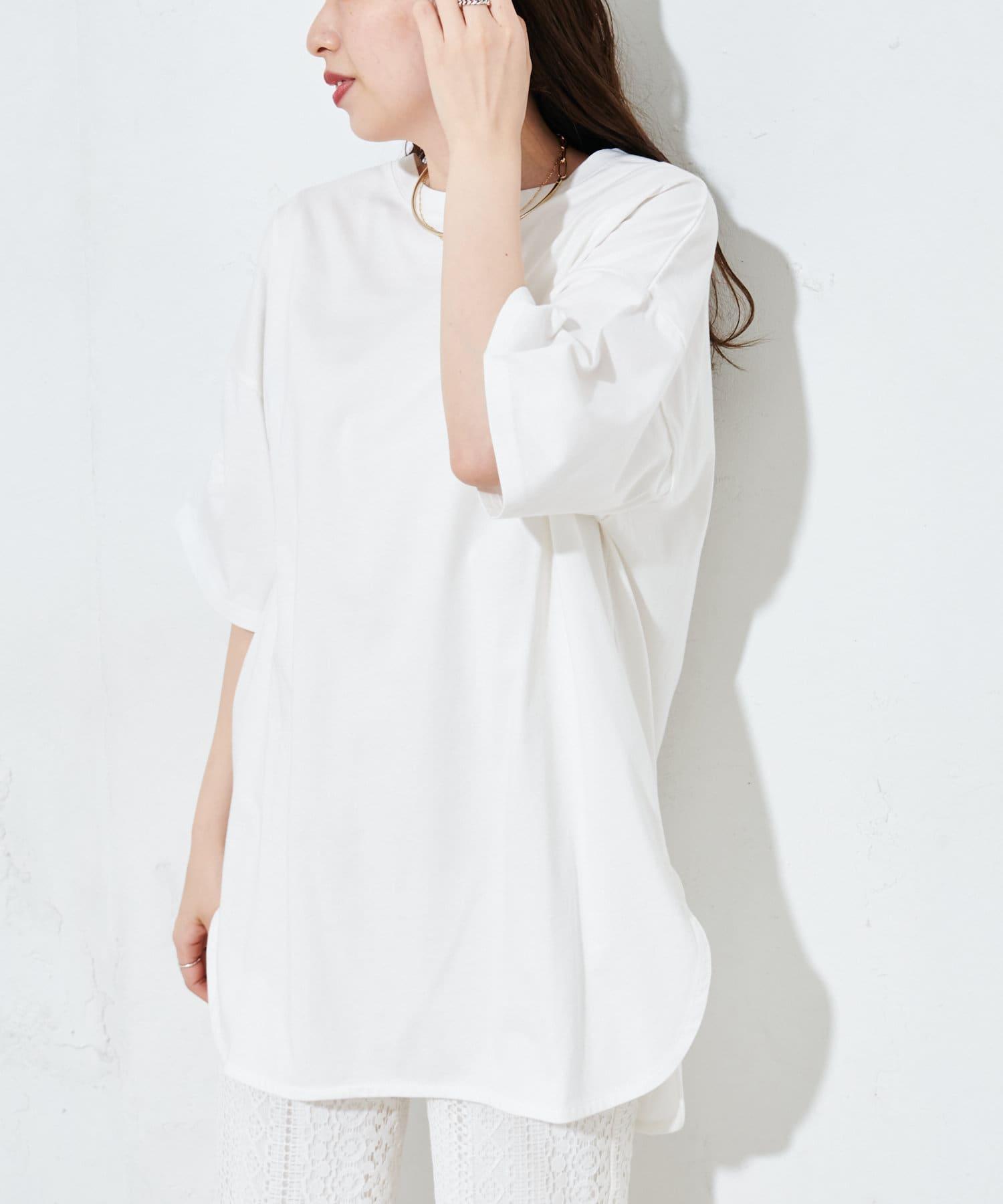 OUTLET(アウトレット) レディース 【Discoat】後ろハギビッグTシャツ オフホワイト