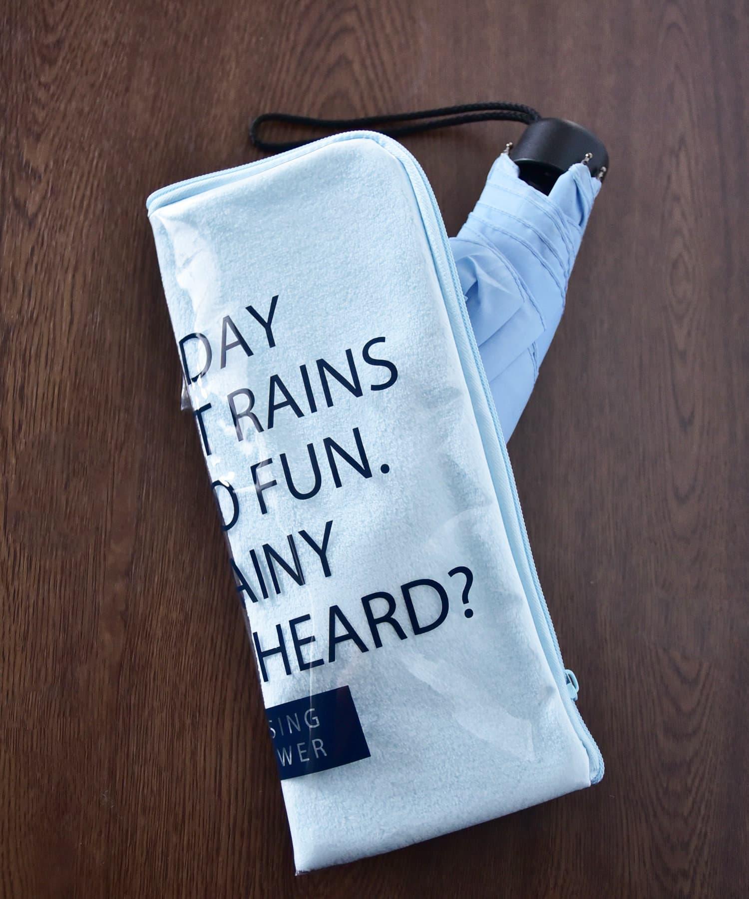 3COINS(スリーコインズ) ライフスタイル 【Enjoy Rainy Days】PVC折りたたみ傘ポーチ ブルー