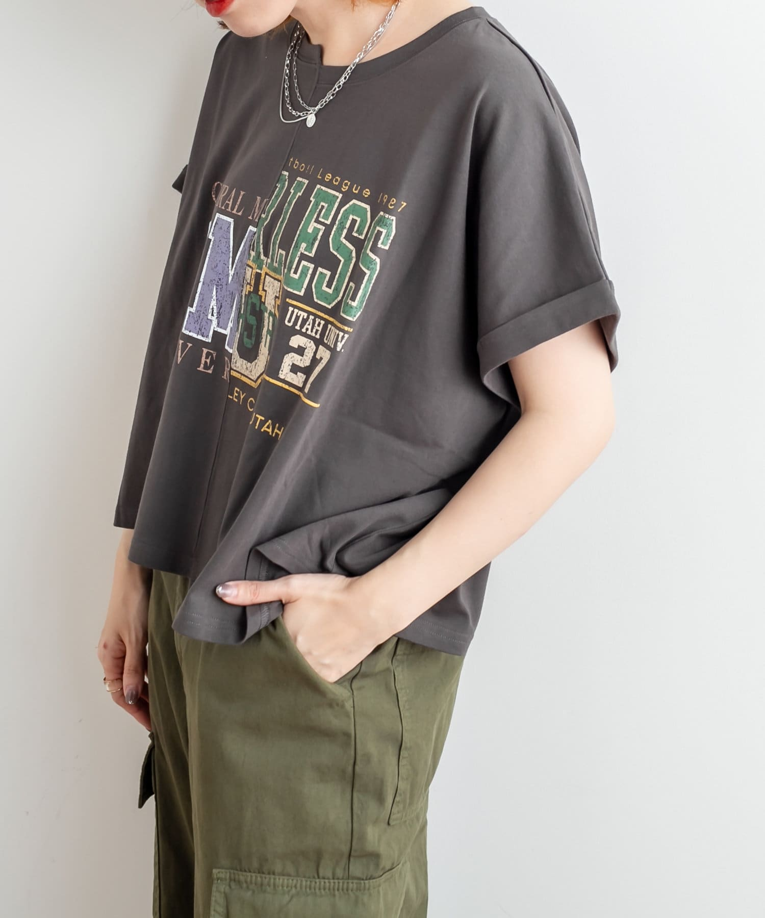 NICE CLAUP OUTLET(ナイスクラップ アウトレット) リメイク風カレッジpt ショートPO