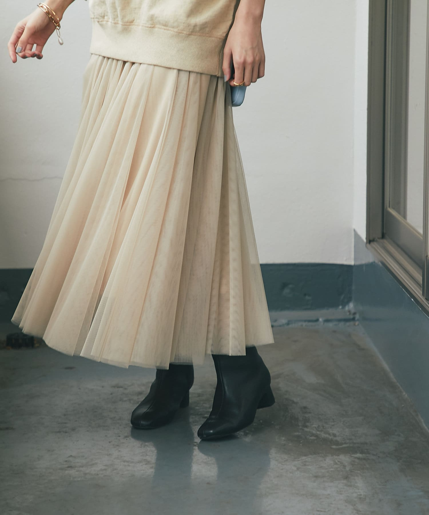 un dix cors(アンディコール) 【軽やかで女性らしい雰囲気に】ソフトチュールスカート