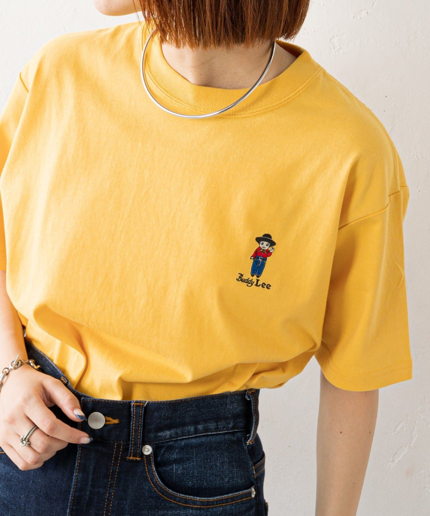 CIAOPANIC TYPY(チャオパニックティピー) レディース 【Lee×CIAOPANIC TYPY】BuddyLee刺繍Tee イエロー