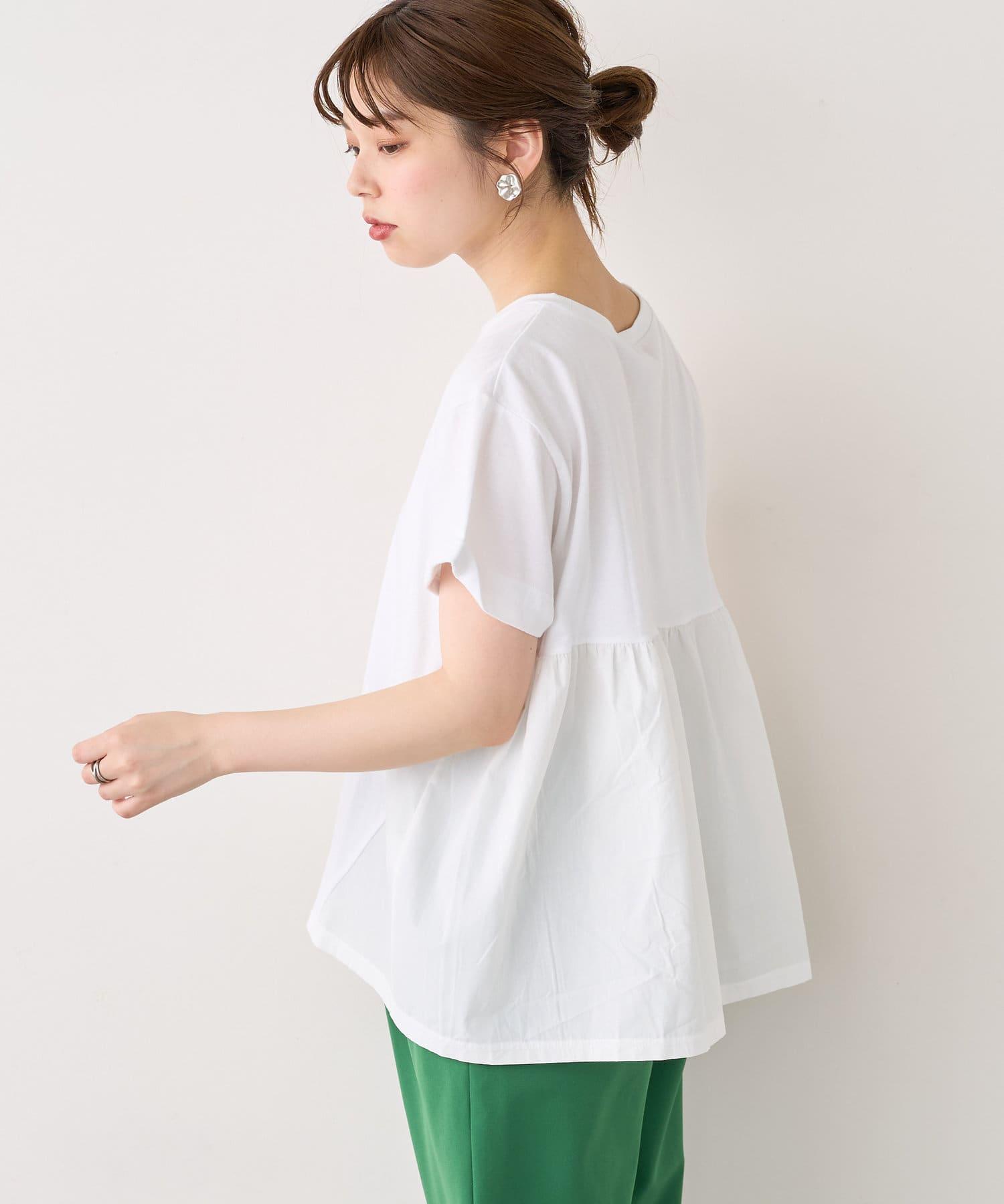natural couture(ナチュラルクチュール) USAコットンバックフリルデザインTシャツ
