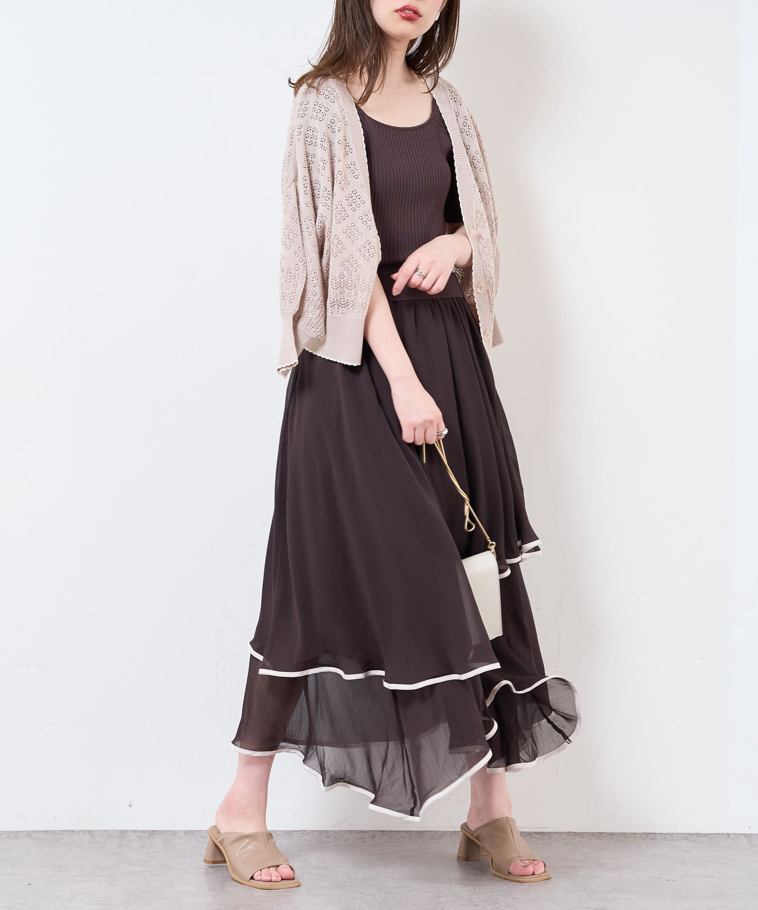 natural couture(ナチュラルクチュール) 【WEB限定】ランダムヘムニットドッキングワンピース