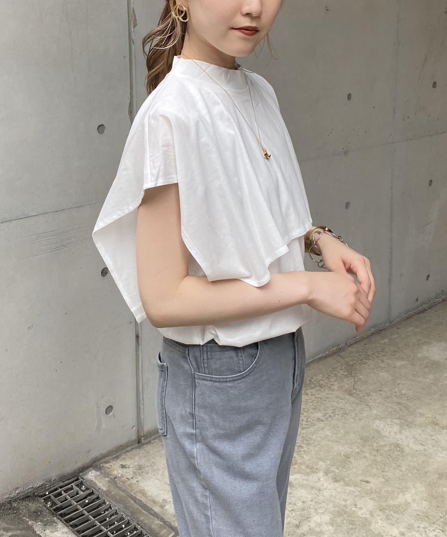 CAPRICIEUX LE'MAGE(カプリシュレマージュ) 〈WEB限定〉スクエアケープTシャツ
