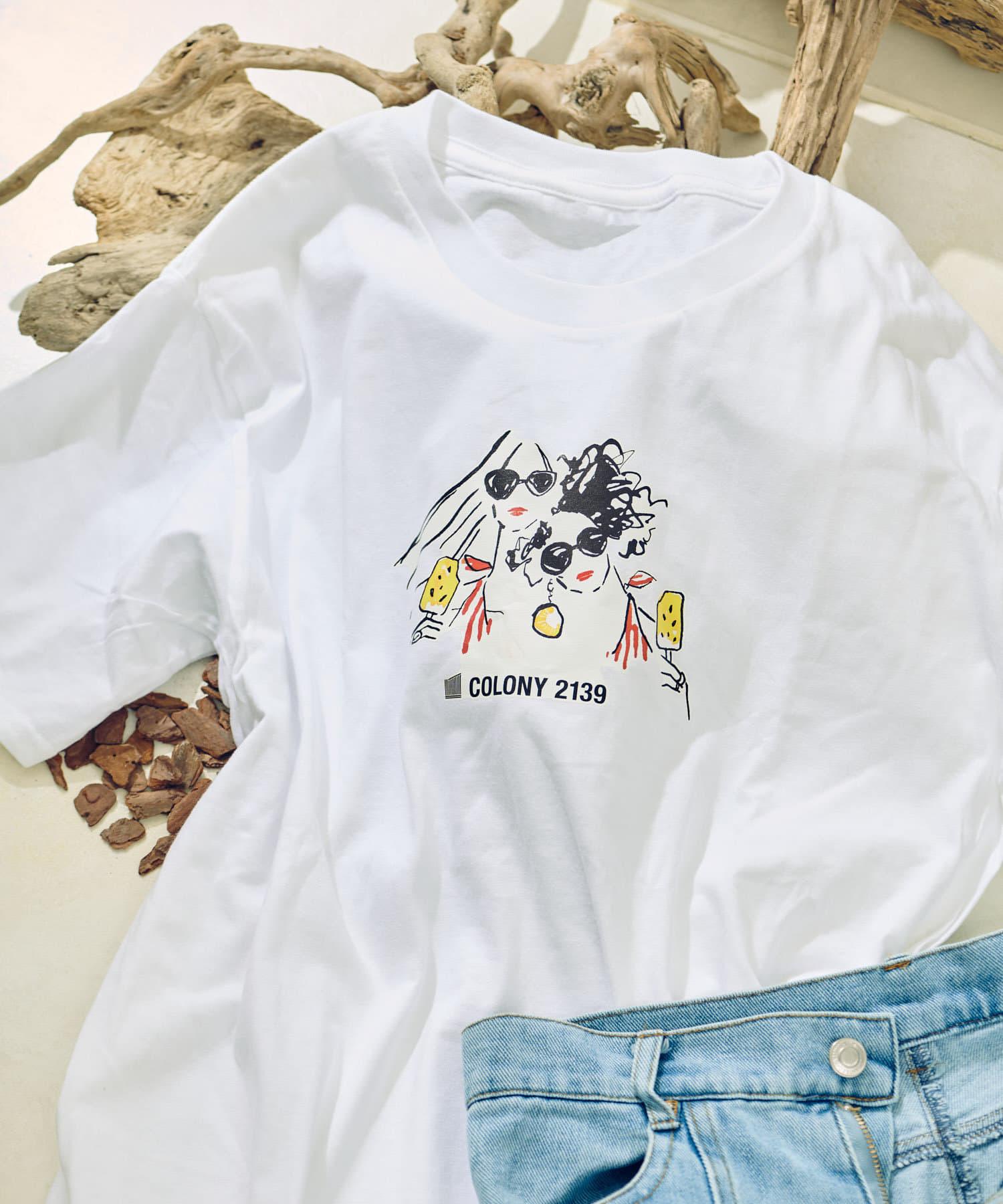 COLONY 2139(コロニー トゥーワンスリーナイン) レディース イラストレーターコラボTシャツ オフホワイト