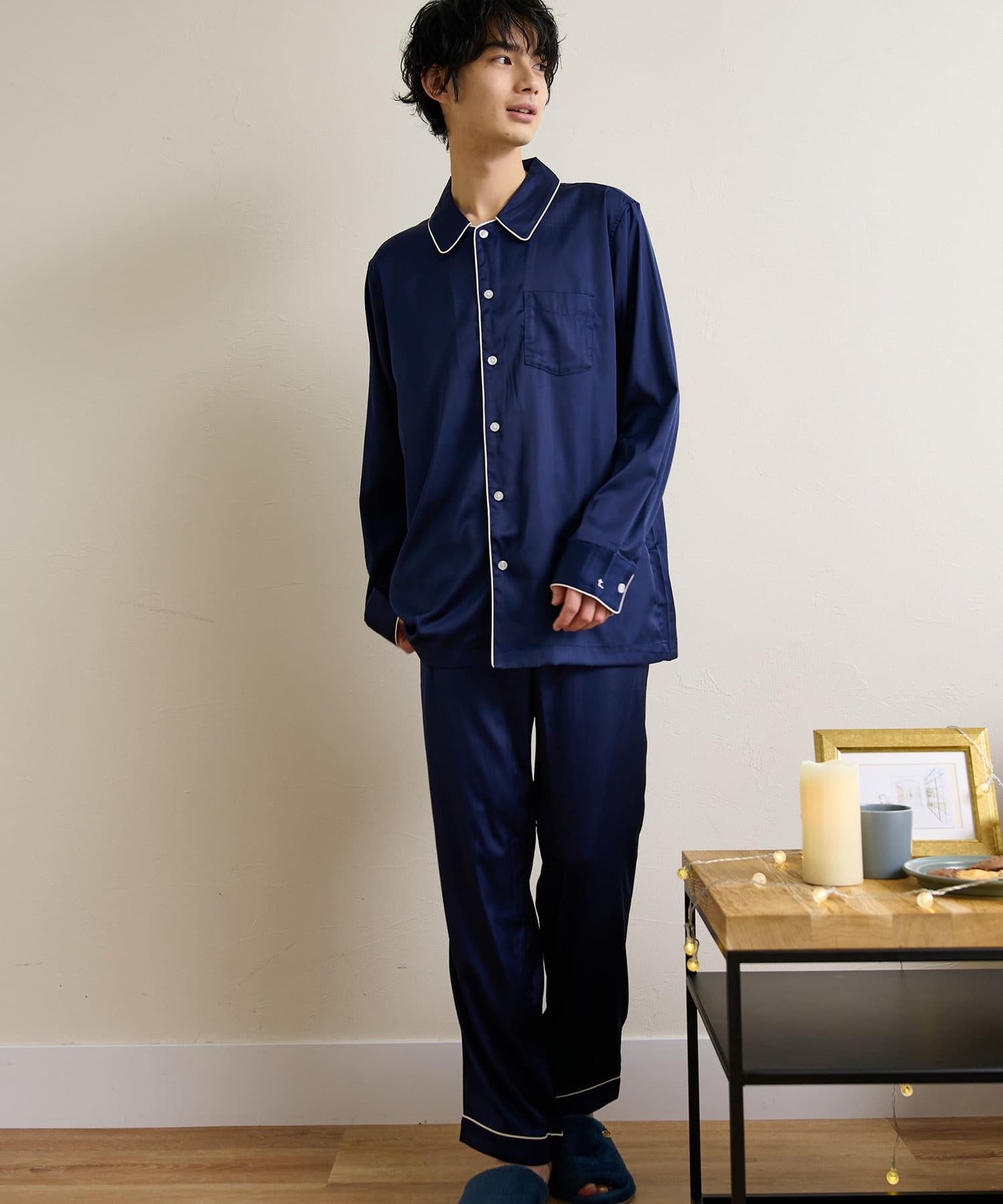 TERRITOIRE(テリトワール) ■ペア割対象■MENS シルクタッチサテンパジャマ 上下セット