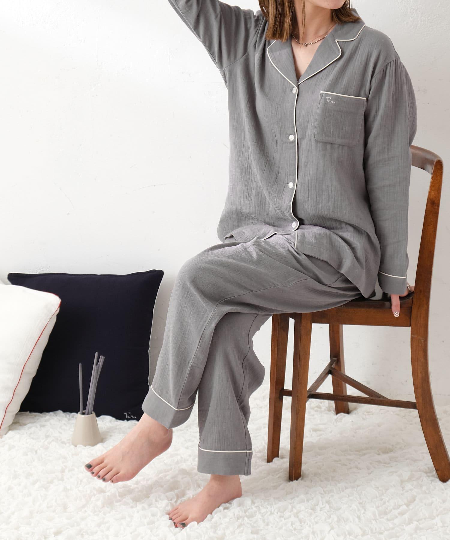 TERRITOIRE(テリトワール) 【オーガニックコットン】LADIESしあわせWガーゼパジャマ 上下セット