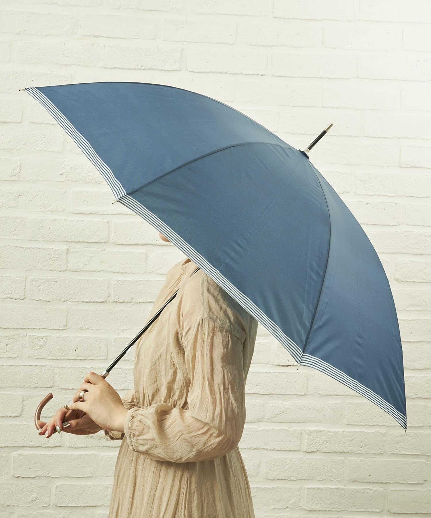 salut!(サリュ) ライフスタイル 雨傘長裾ボーダー(ネイビー) その他